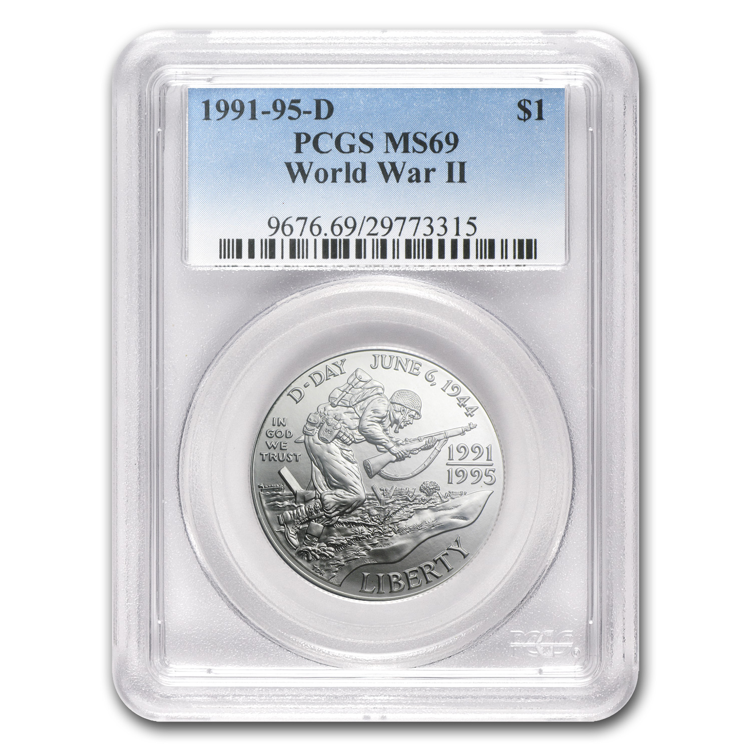 1993-D World War II $1 Silver Commemorative MS-69 PCGS
