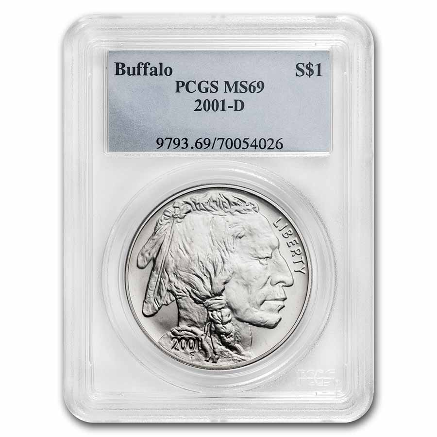 2001-D Buffalo $1 Silver Commem MS-69 PCGS