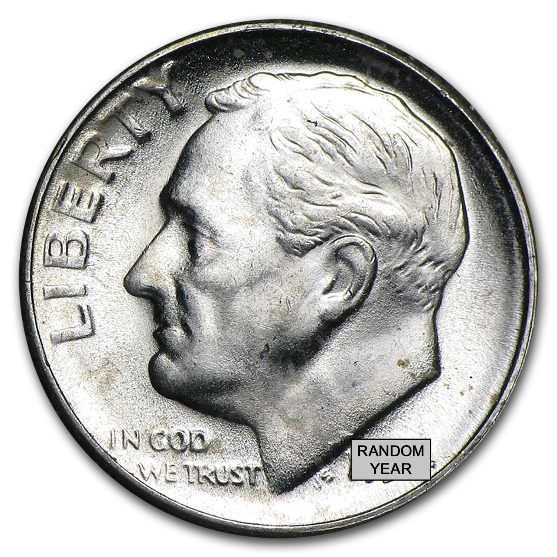90 Silver Roosevelt Dimes 5 50 Coin Roll Bu Roosevelt
