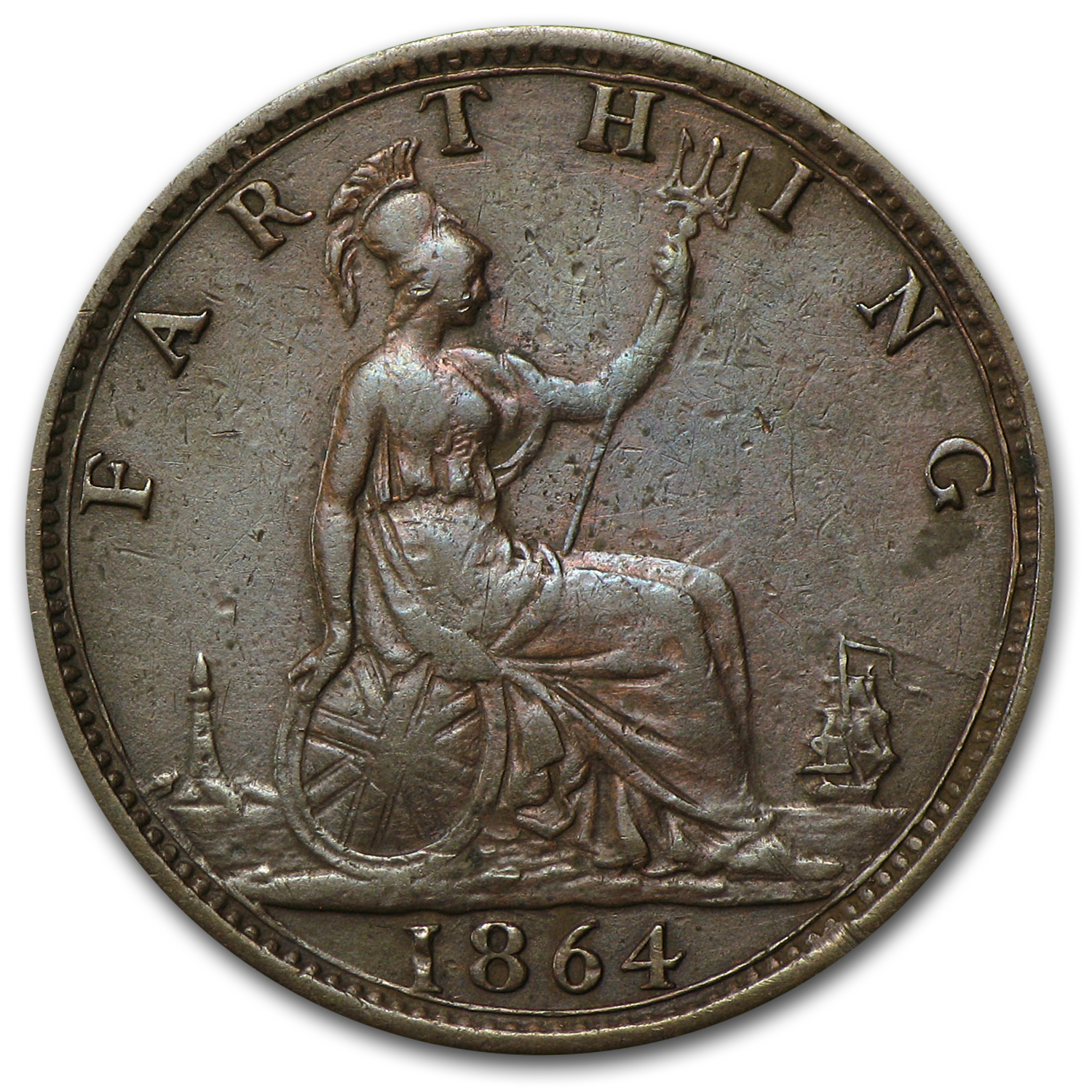 1864 Great Britain Farthing Victoria XF