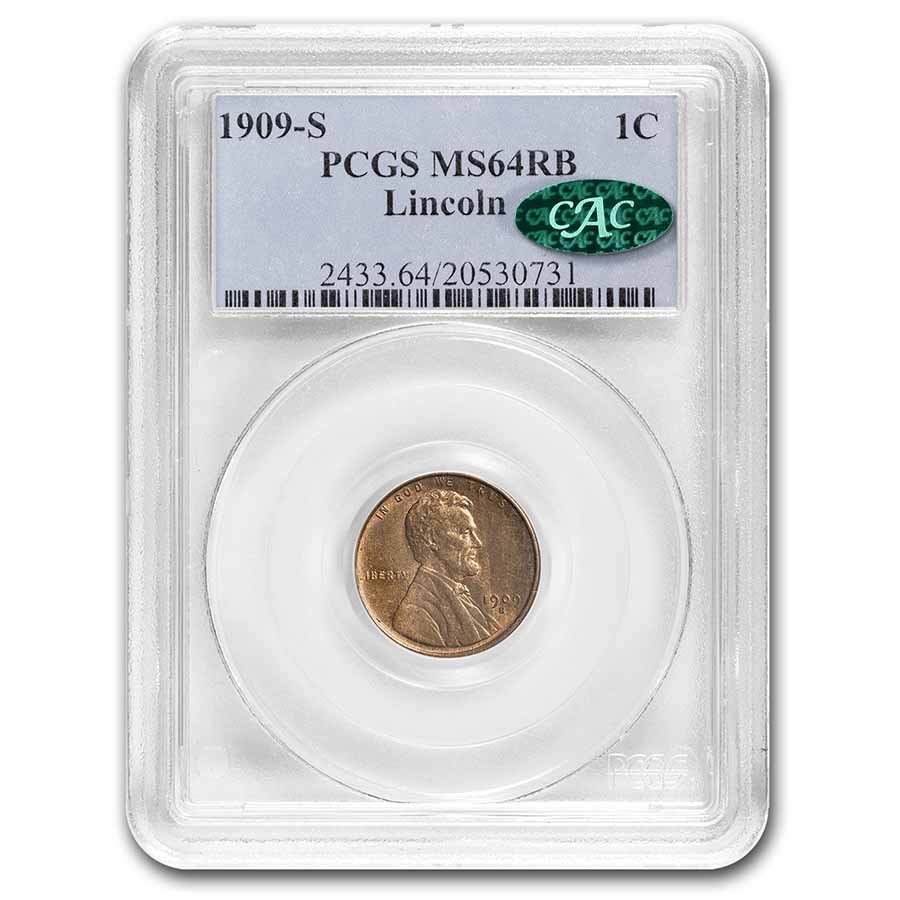 1909-S Lincoln Cent MS-64 PCGS (Red/Brown)