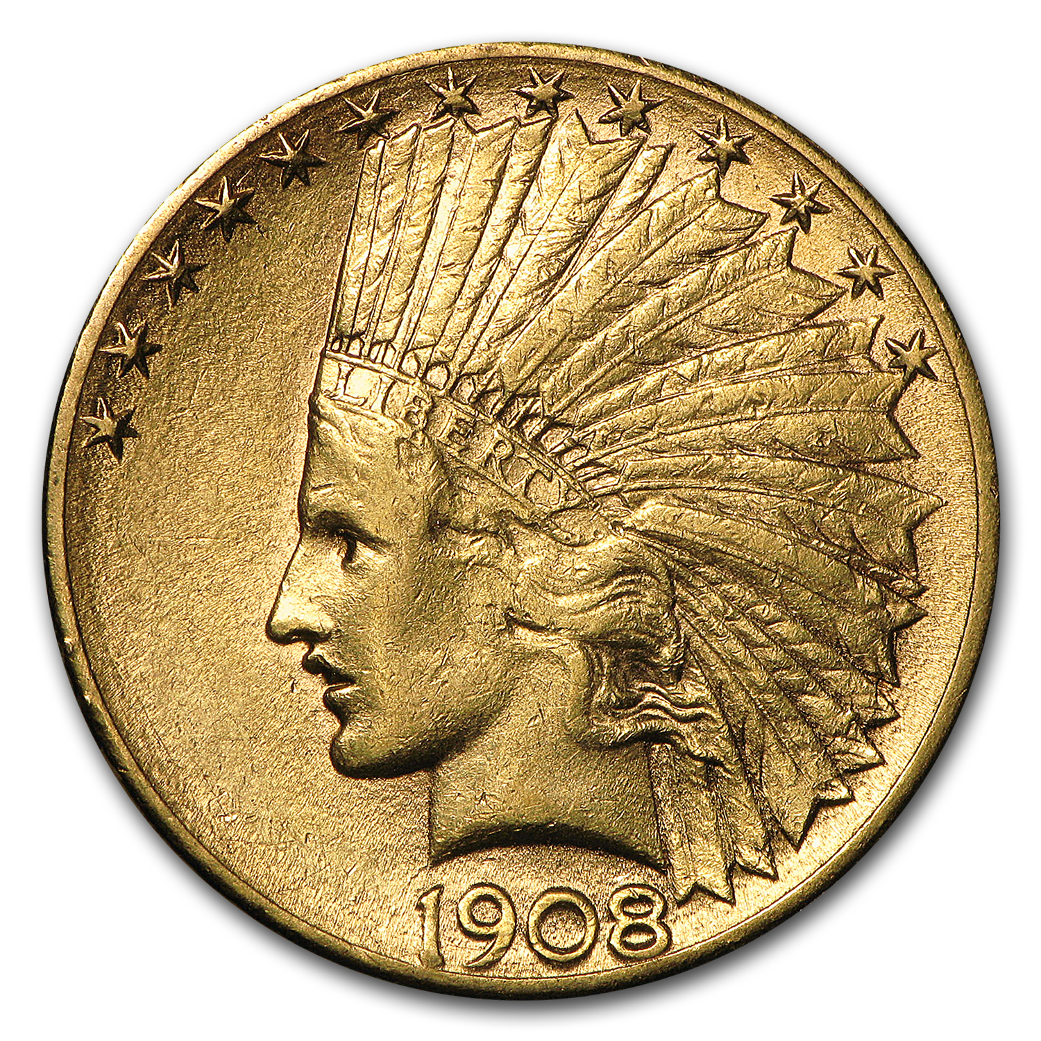 1908-S $10 Indian Gold Eagle (Cleaned)
