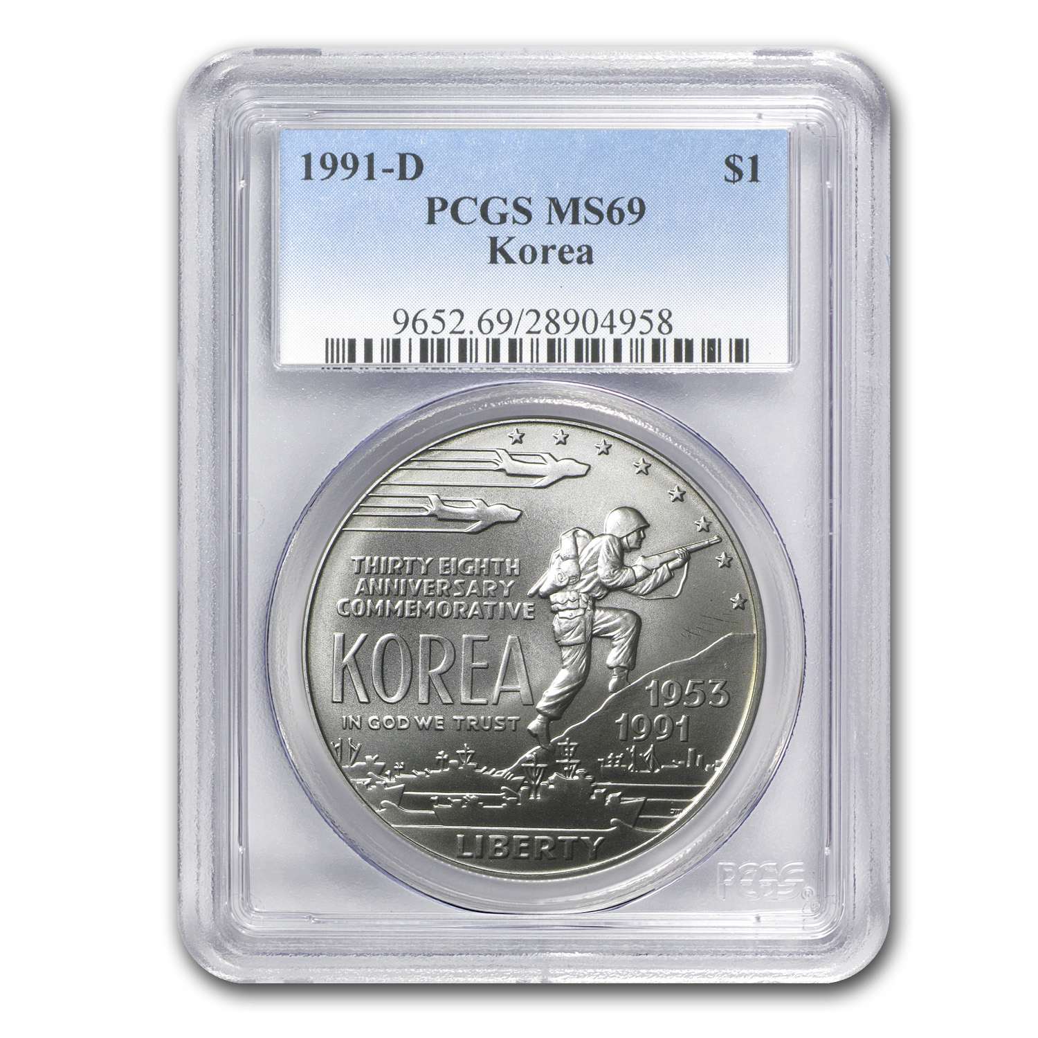 1991-D Korean War $1 Silver Commem MS-69 PCGS