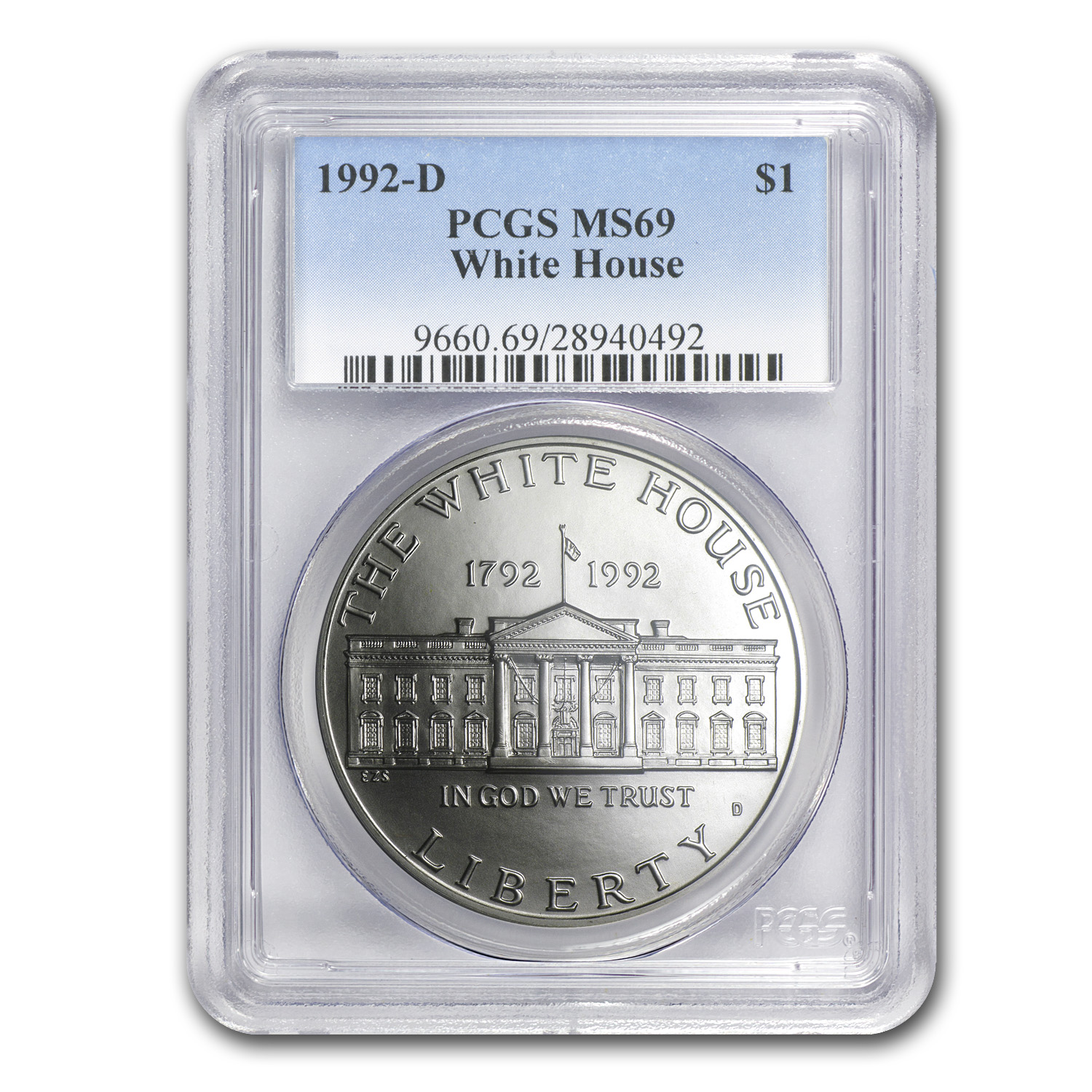 1992-D White House $1 Silver Commem MS-69 PCGS