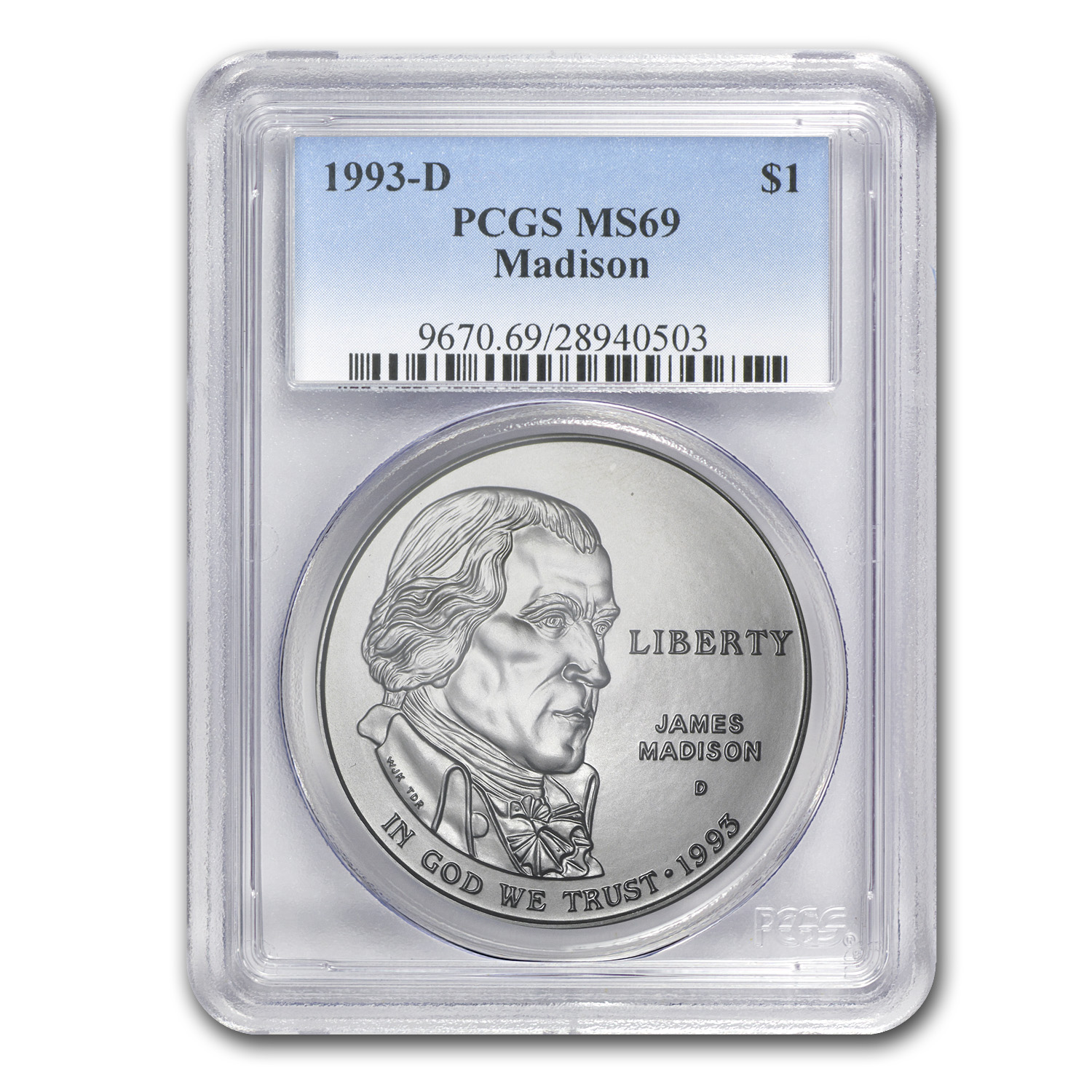 1993-D Bill of Rights $1 Silver Commem MS-69 PCGS