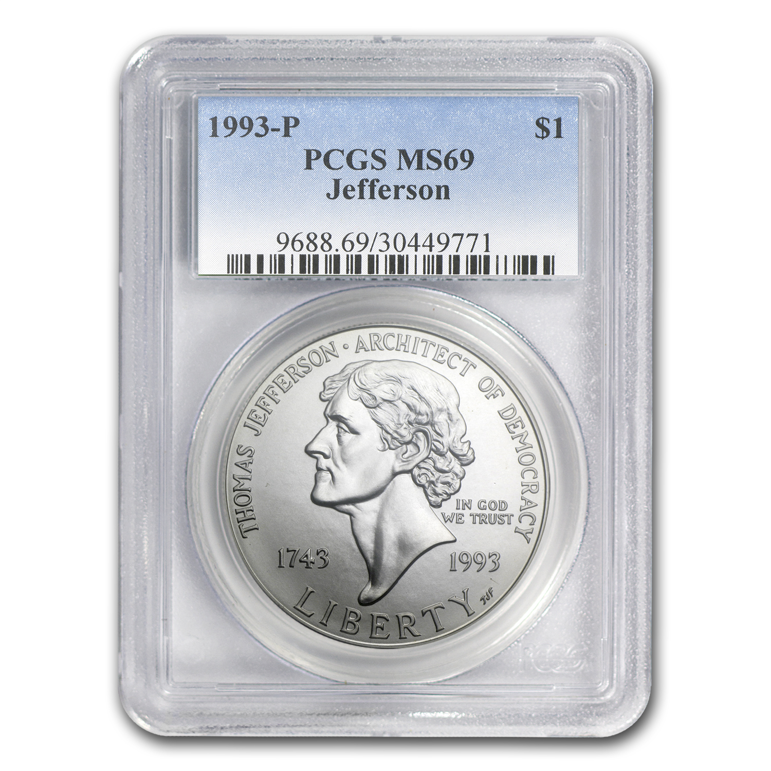 1993-P Jefferson 250th Anniv $1 Silver Commem MS-69 PCGS