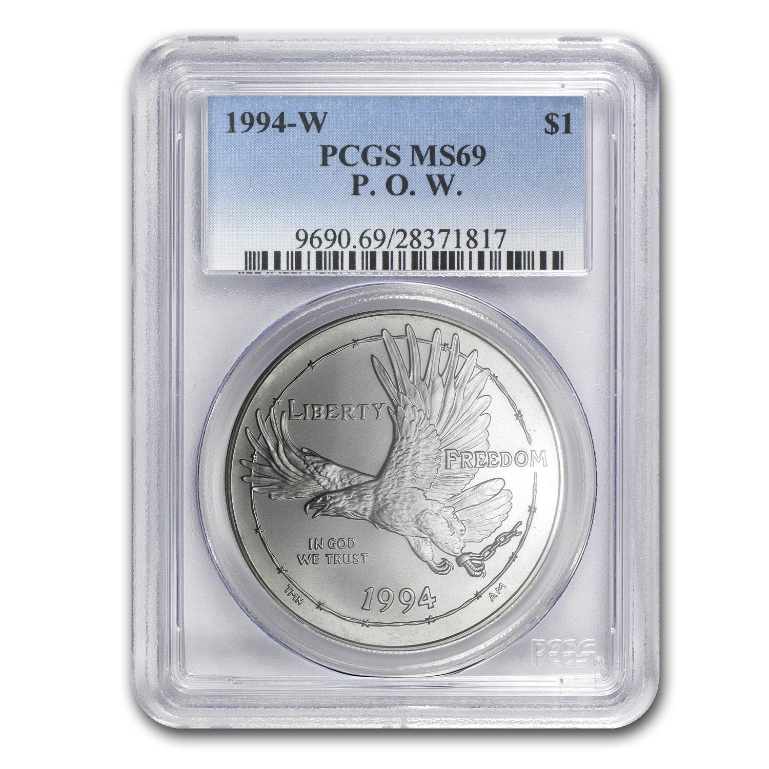 1994-W Prisoner of War $1 Silver Commem MS-69 PCGS