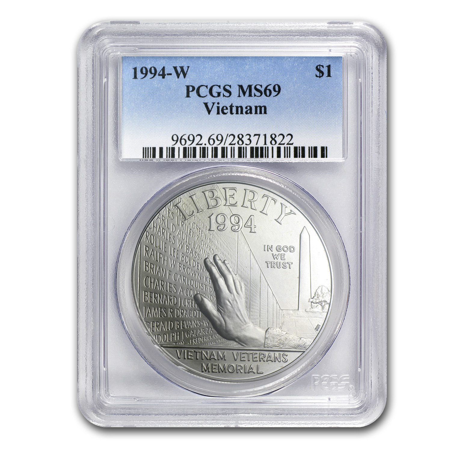 1994-W Vietnam Veterans Memorial $1 Silver Commem MS-69 PCGS