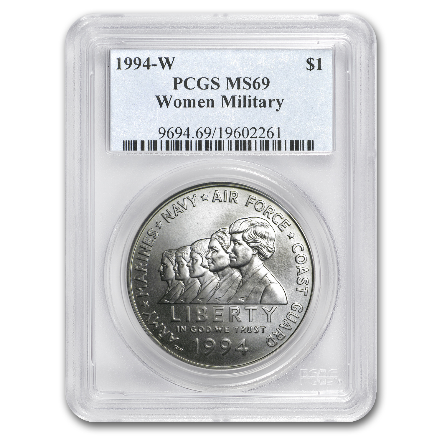 1994-W Women in Military $1 Silver Commemorative - MS-69 PCGS