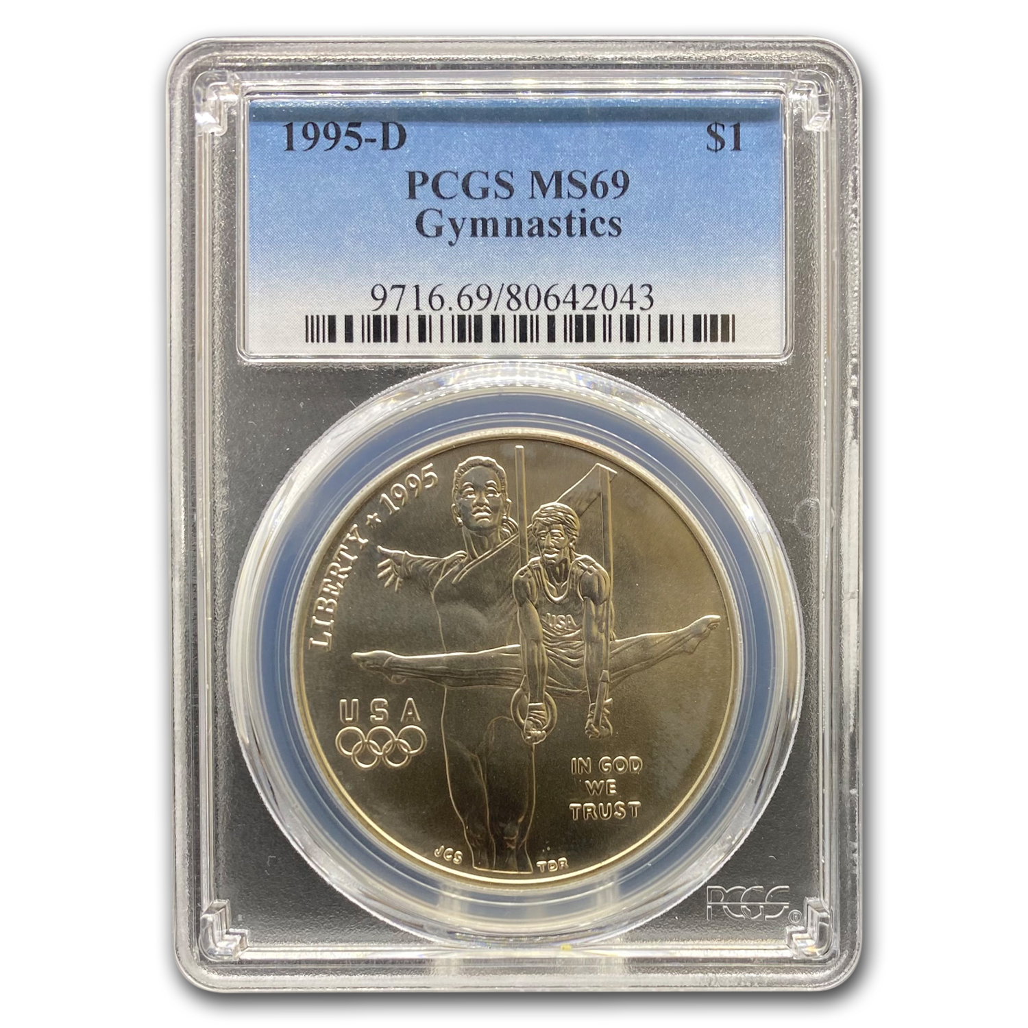 1995-D Olympic Gymnast $1 Silver Commem MS-69 PCGS
