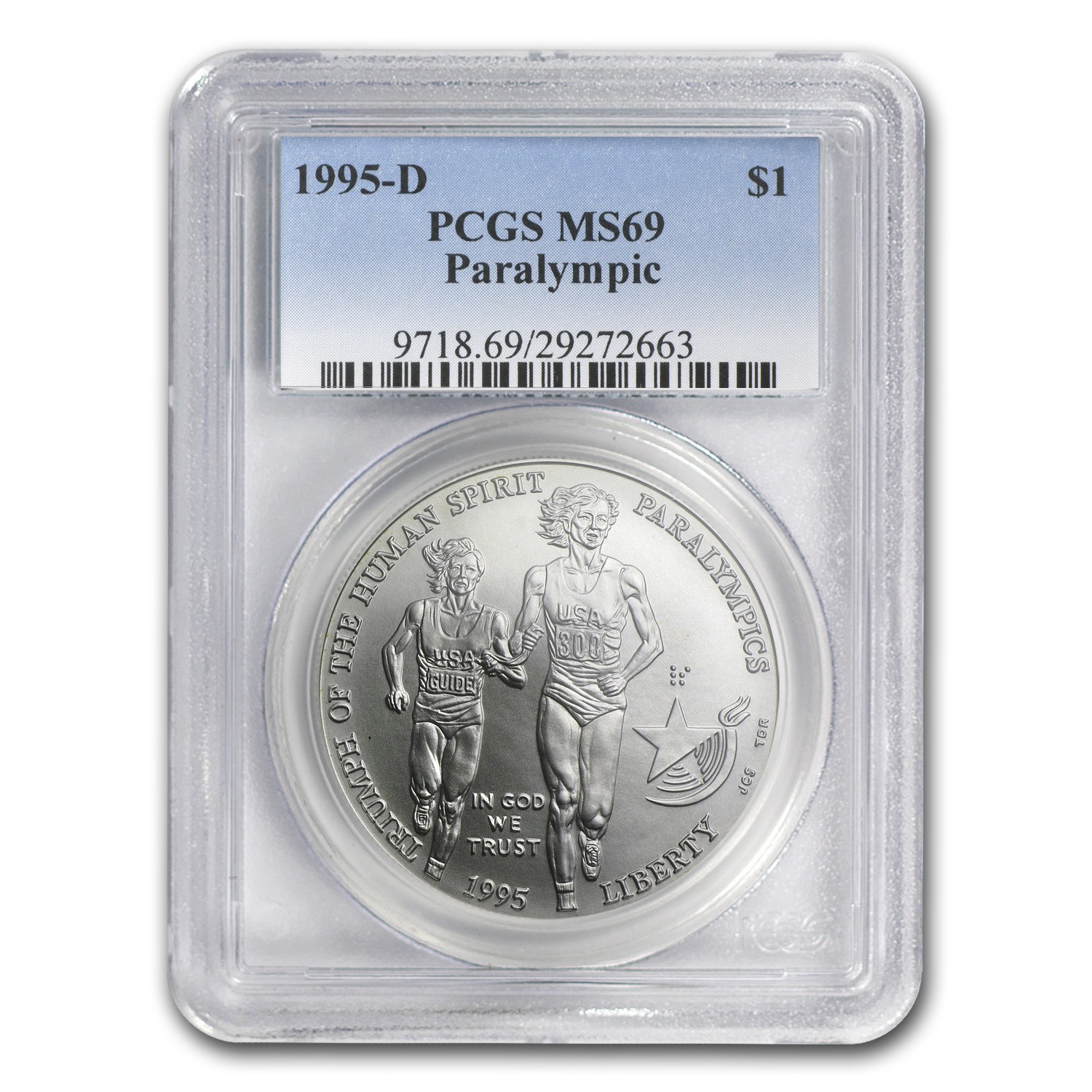1995-D Olympic Blind Runner $1 Silver Commemorative MS-69 PCGS