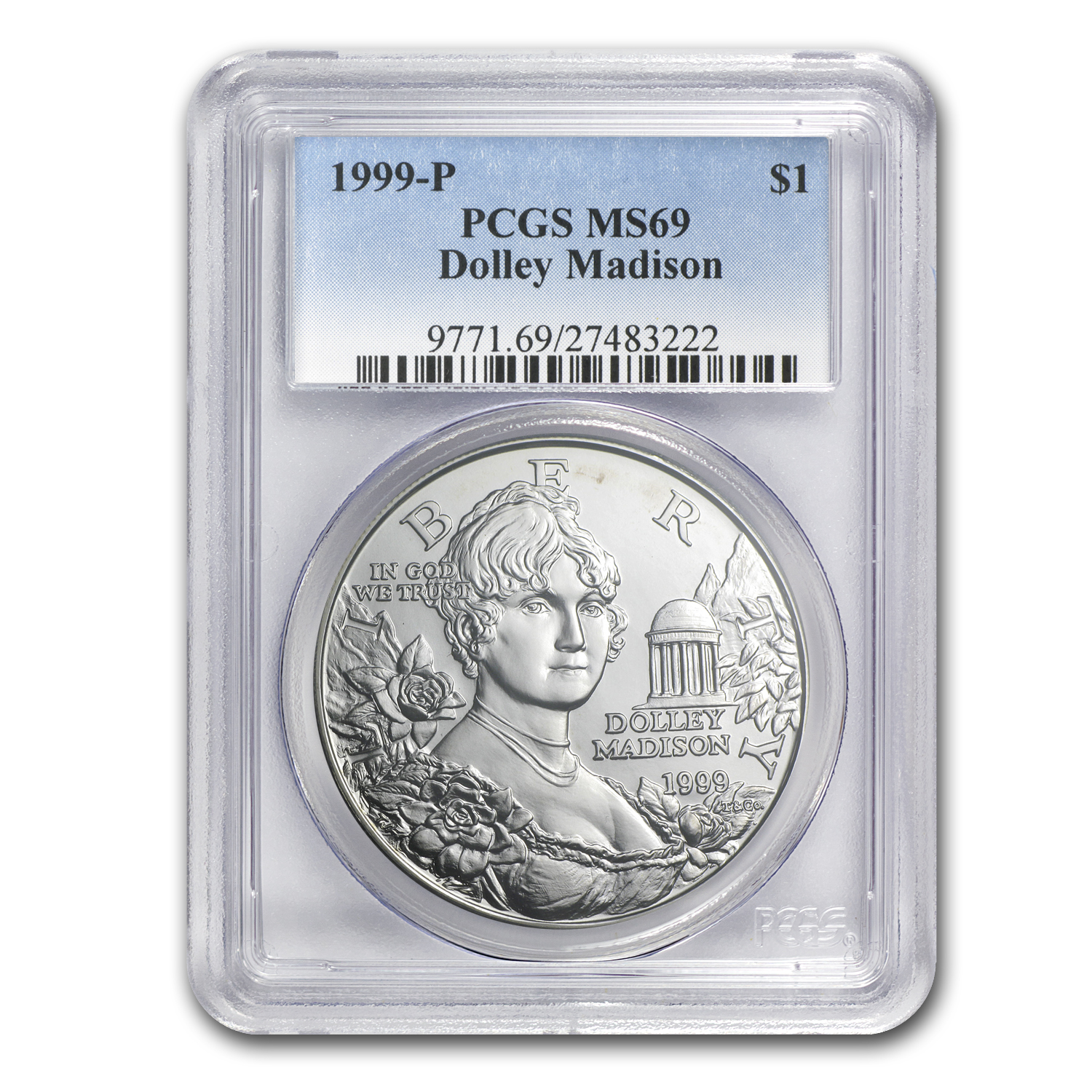 1999-P Dolley Madison $1 Silver Commem MS-69 PCGS