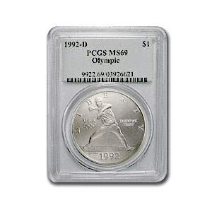 1992-D Olympic Baseball $1 Silver Commem MS-69 PCGS