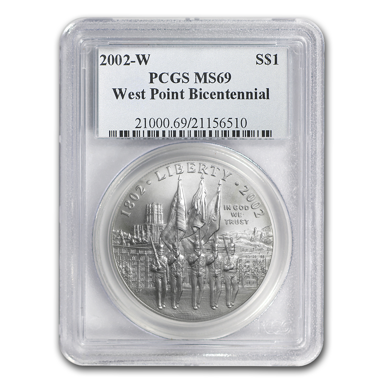 2002-W West Point Bicentennial $1 Silver Commem MS-69 PCGS