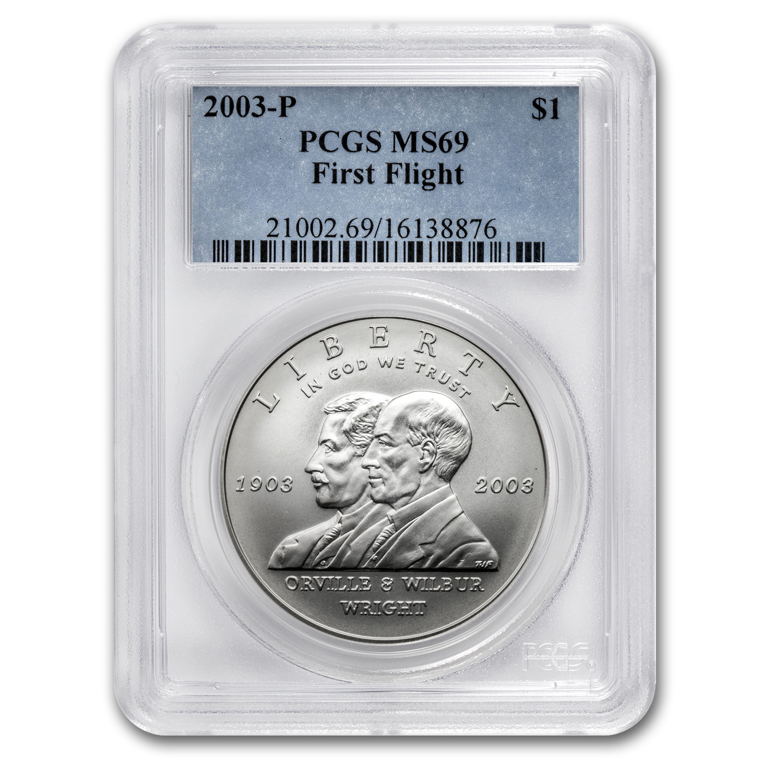 2003-P First Flight Centennial $1 Silver Commem MS-69 PCGS