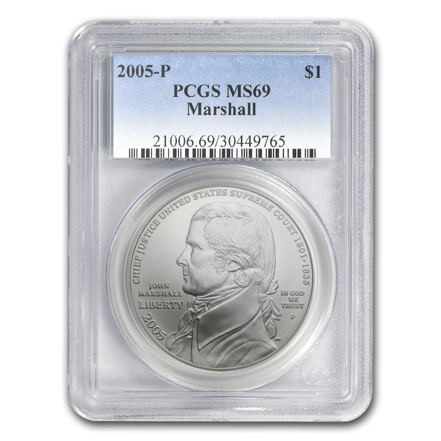 2005-P Chief Justice Marshall $1 Silver Commemorative MS-69 PCGS