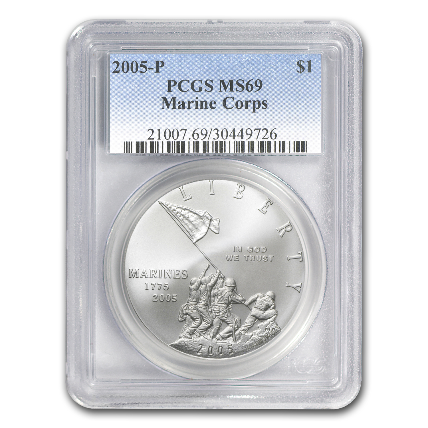 2005-P Marine Corps 230th Anniv $1 Silver Commem MS-69 PCGS