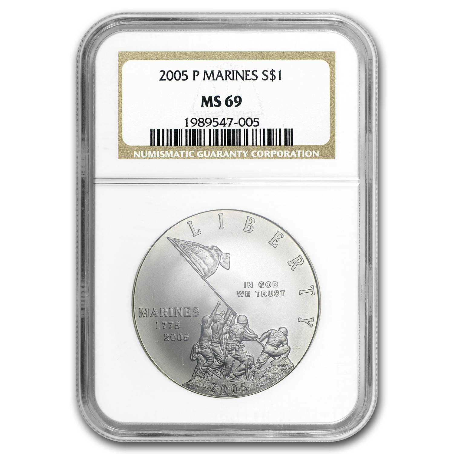 2005-P Marine Corps 230th Anniv $1 Silver Commem MS-69 NGC
