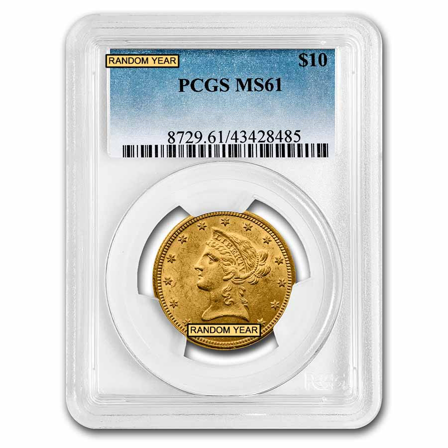 $10 Liberty Gold Eagle MS-61 PCGS (Random)