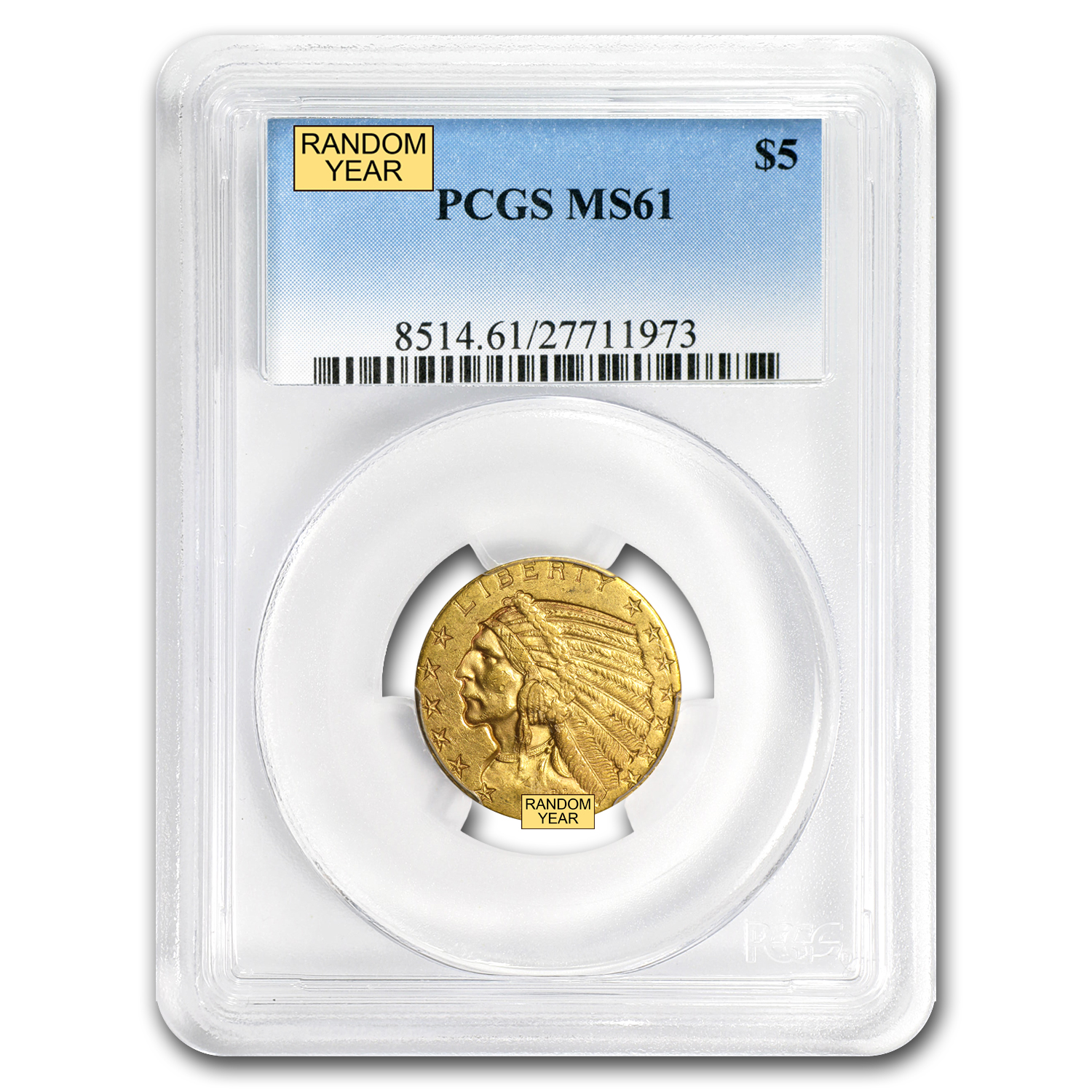 $5 Indian Gold Half Eagle - MS-61 PCGS