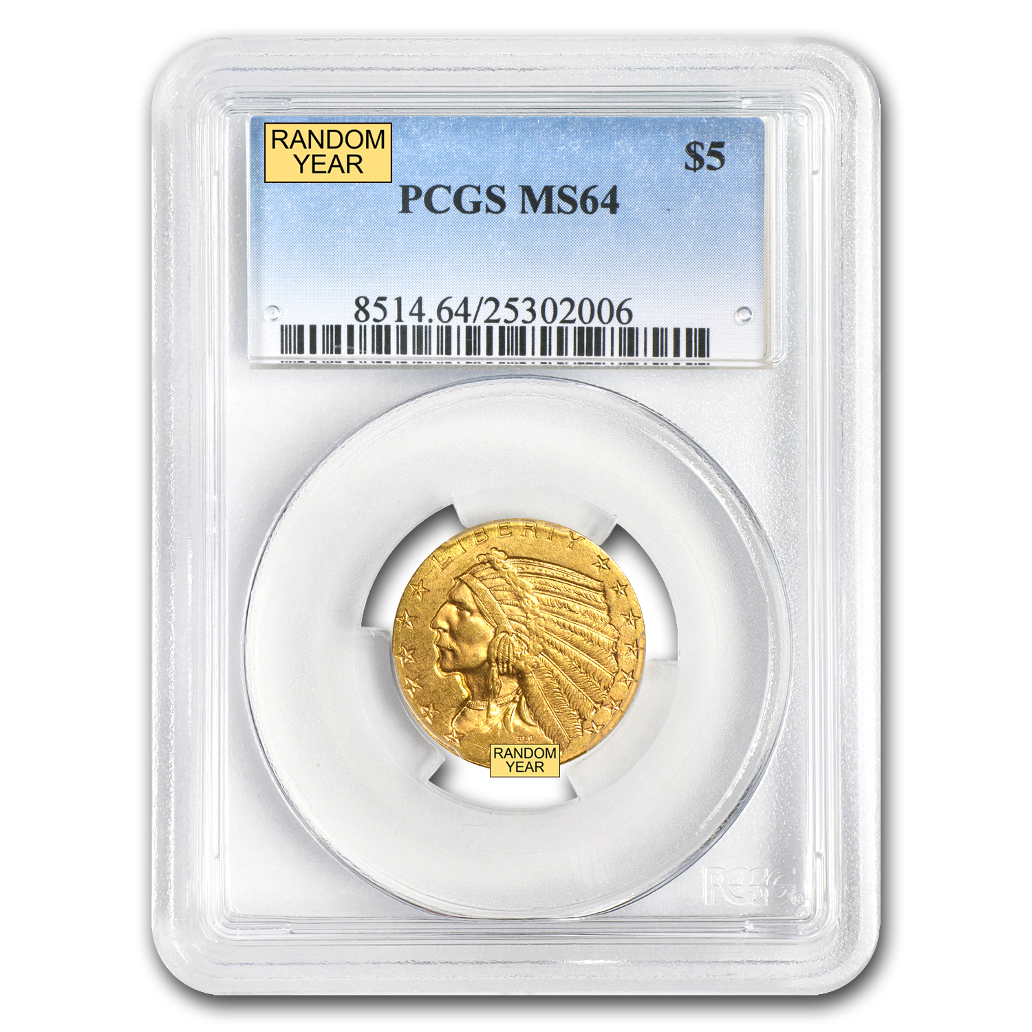 $5 Indian Gold Half Eagle - MS-64 PCGS