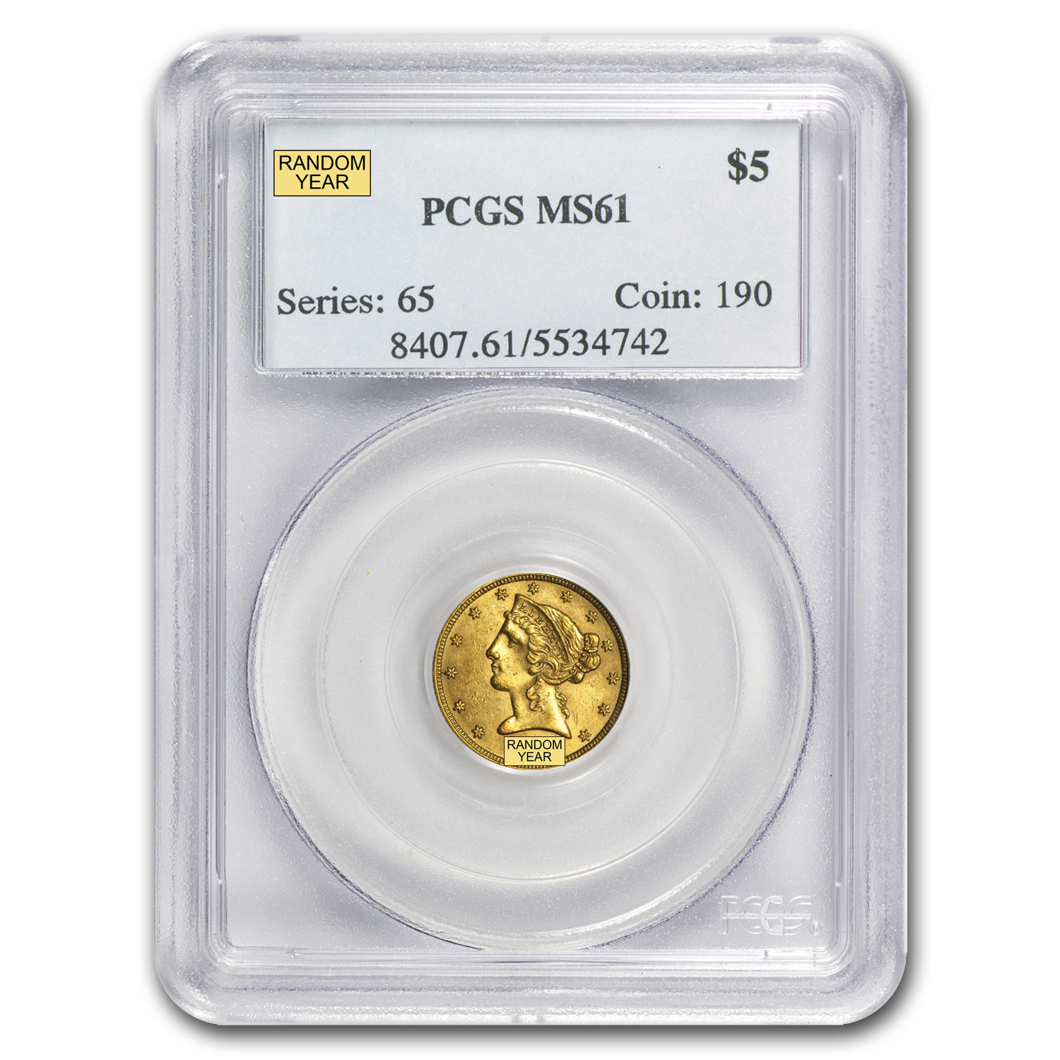 $5 Liberty Gold Half Eagle MS-61 PCGS