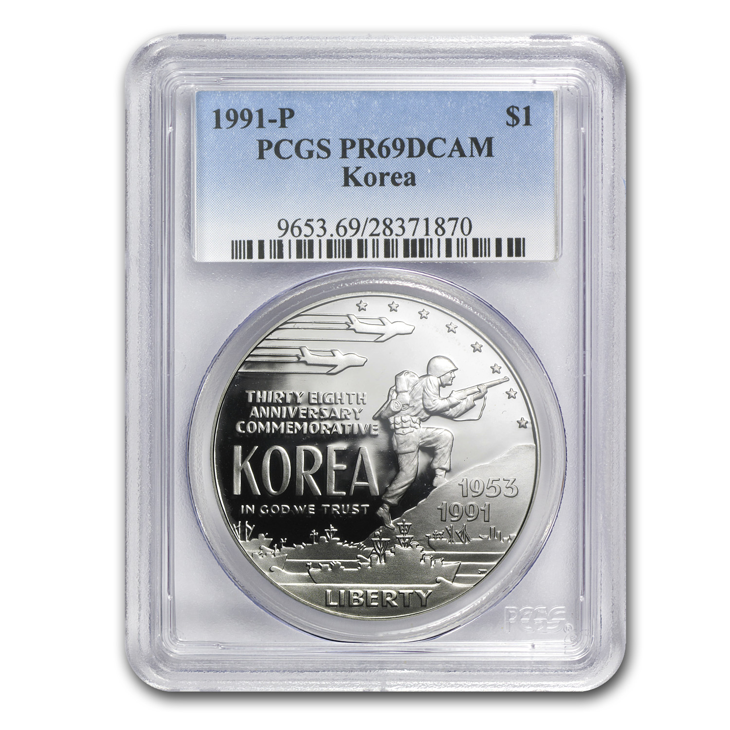 1991-P Korean War $1 Silver Commemorative PR-69 PCGS