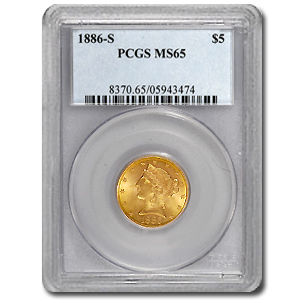$5 Liberty Gold Half Eagle - MS-65 PCGS