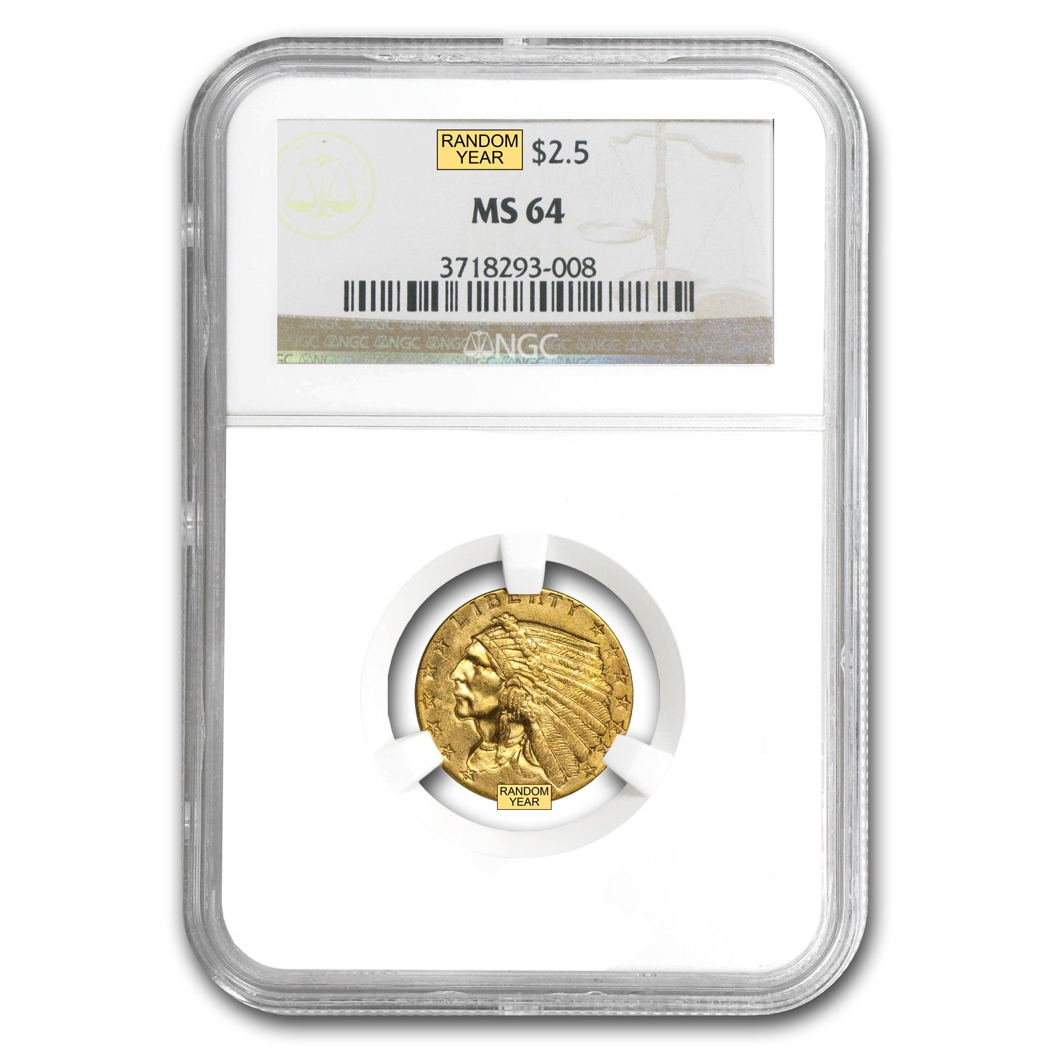 $2.50 Indian Gold Quarter Eagle - MS-64 NGC or PCGS