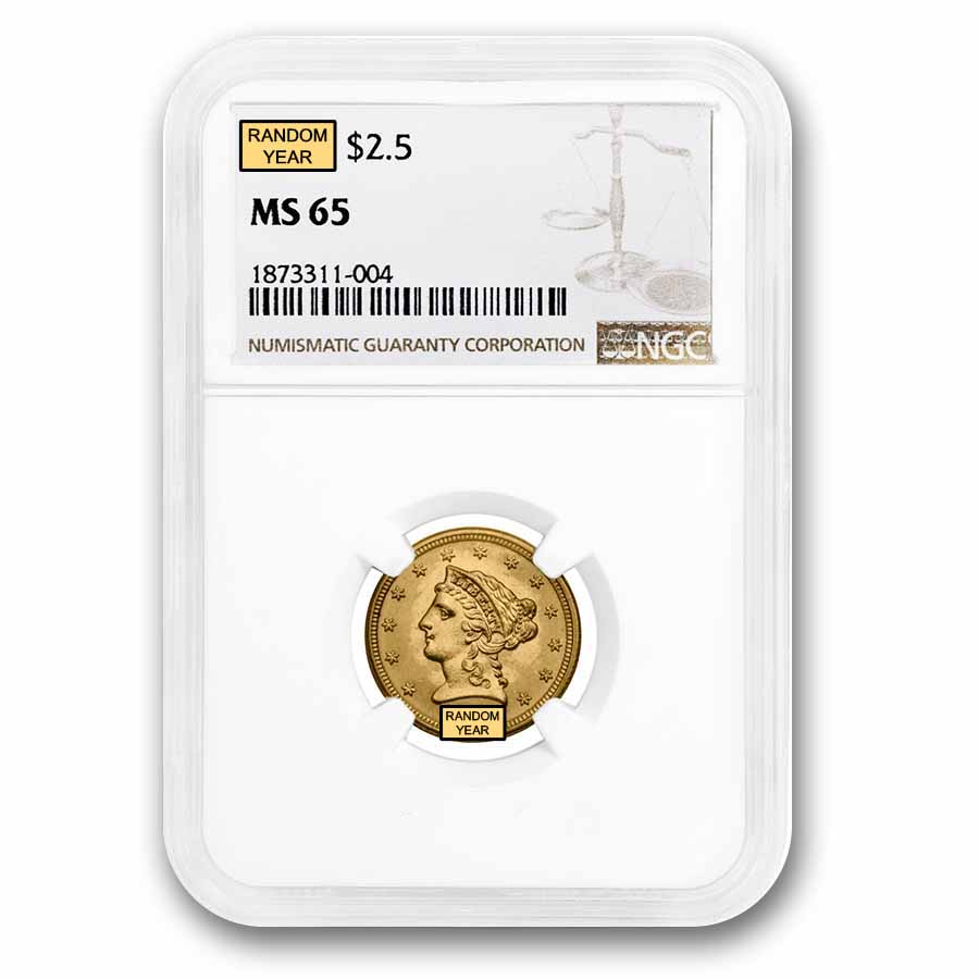$2.50 Liberty Gold Quarter Eagle - MS-65 NGC or PCGS