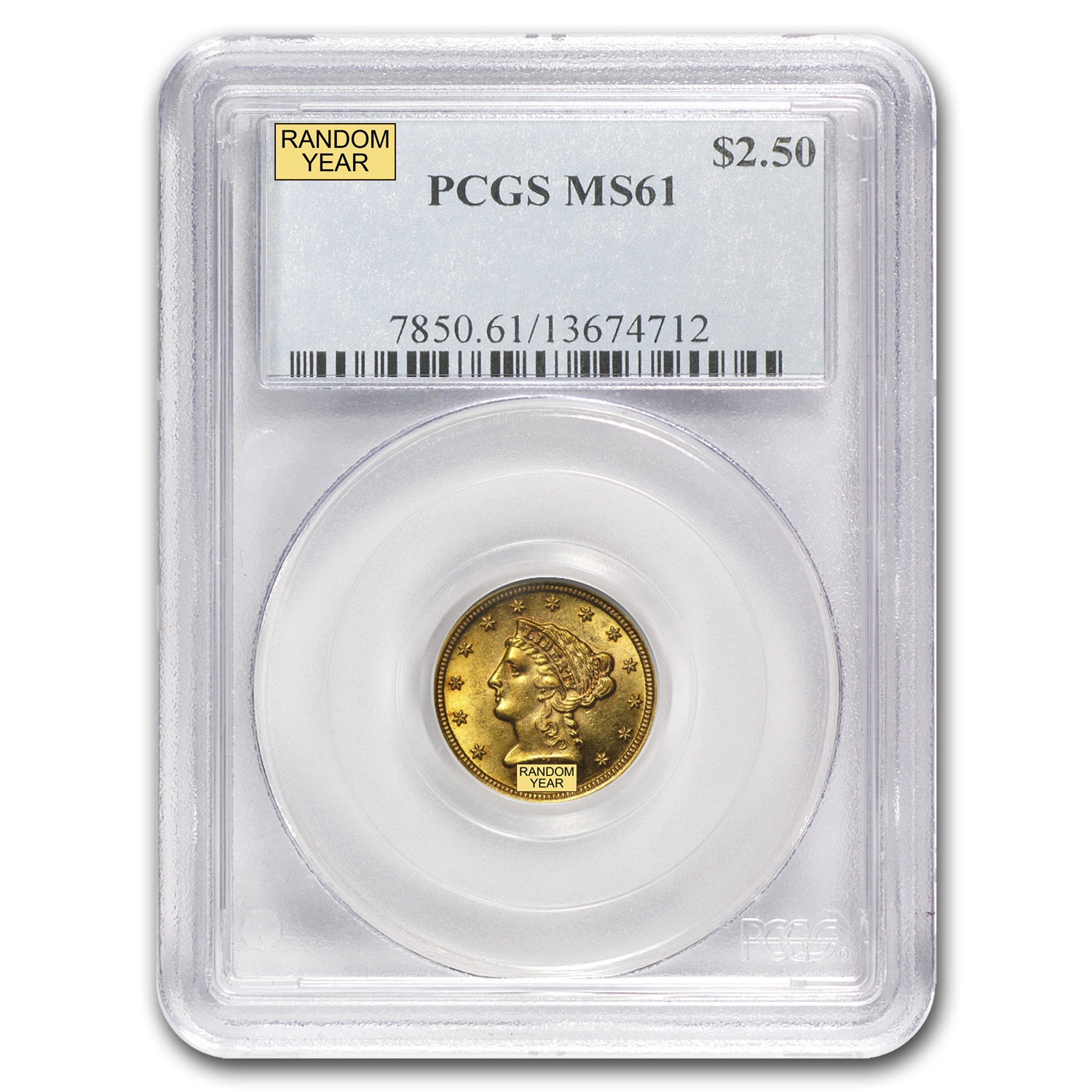 $2.50 Liberty Gold Quarter Eagle - MS-61 NGC or PCGS