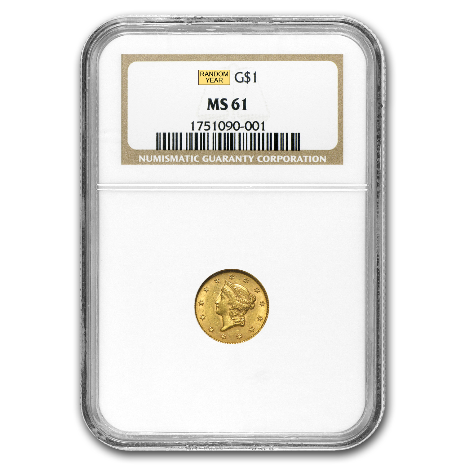 $1 Liberty Head Gold Type 1 MS-61 NGC/PCGS