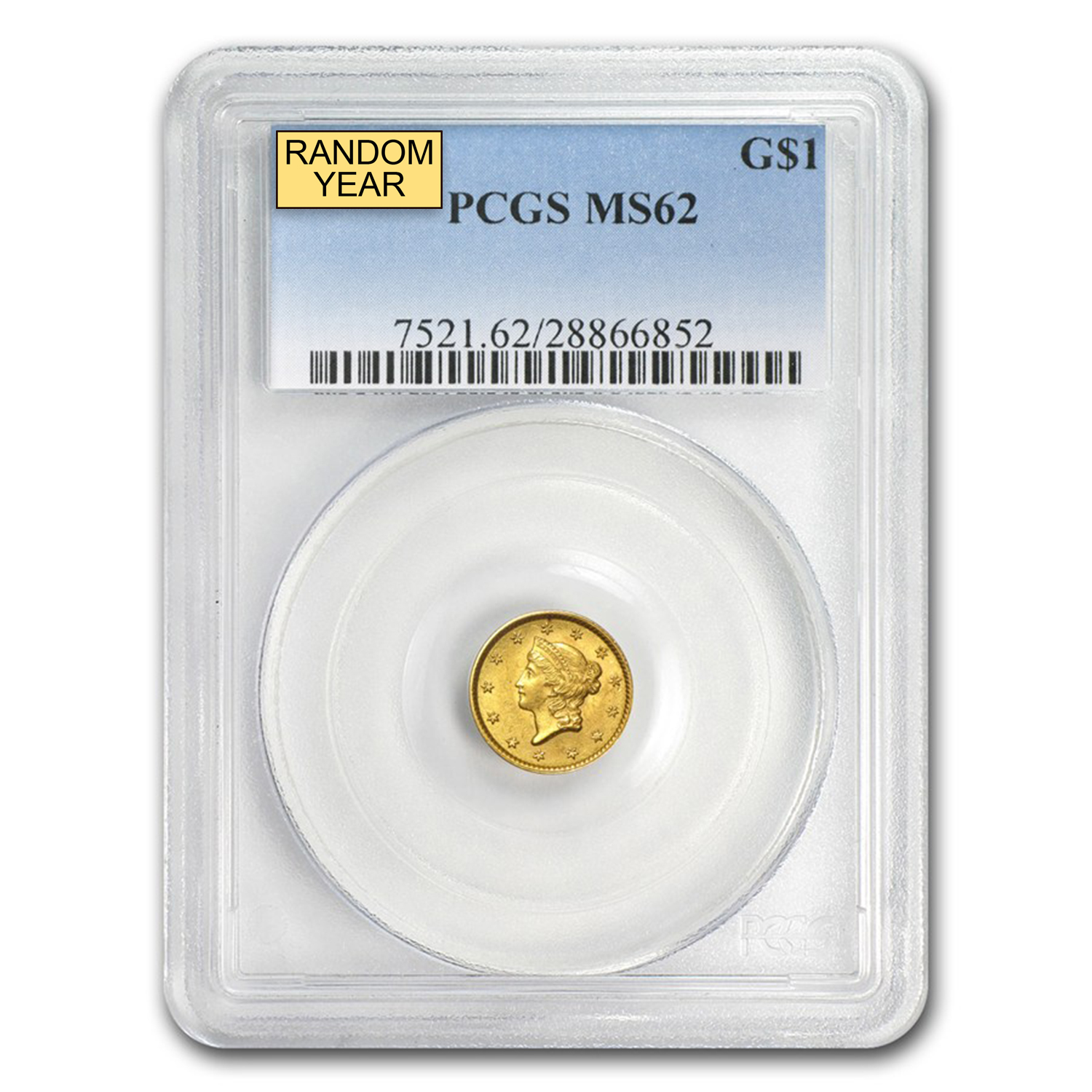 $1 Liberty Head Gold Type 1 MS-62 NGC/PCGS