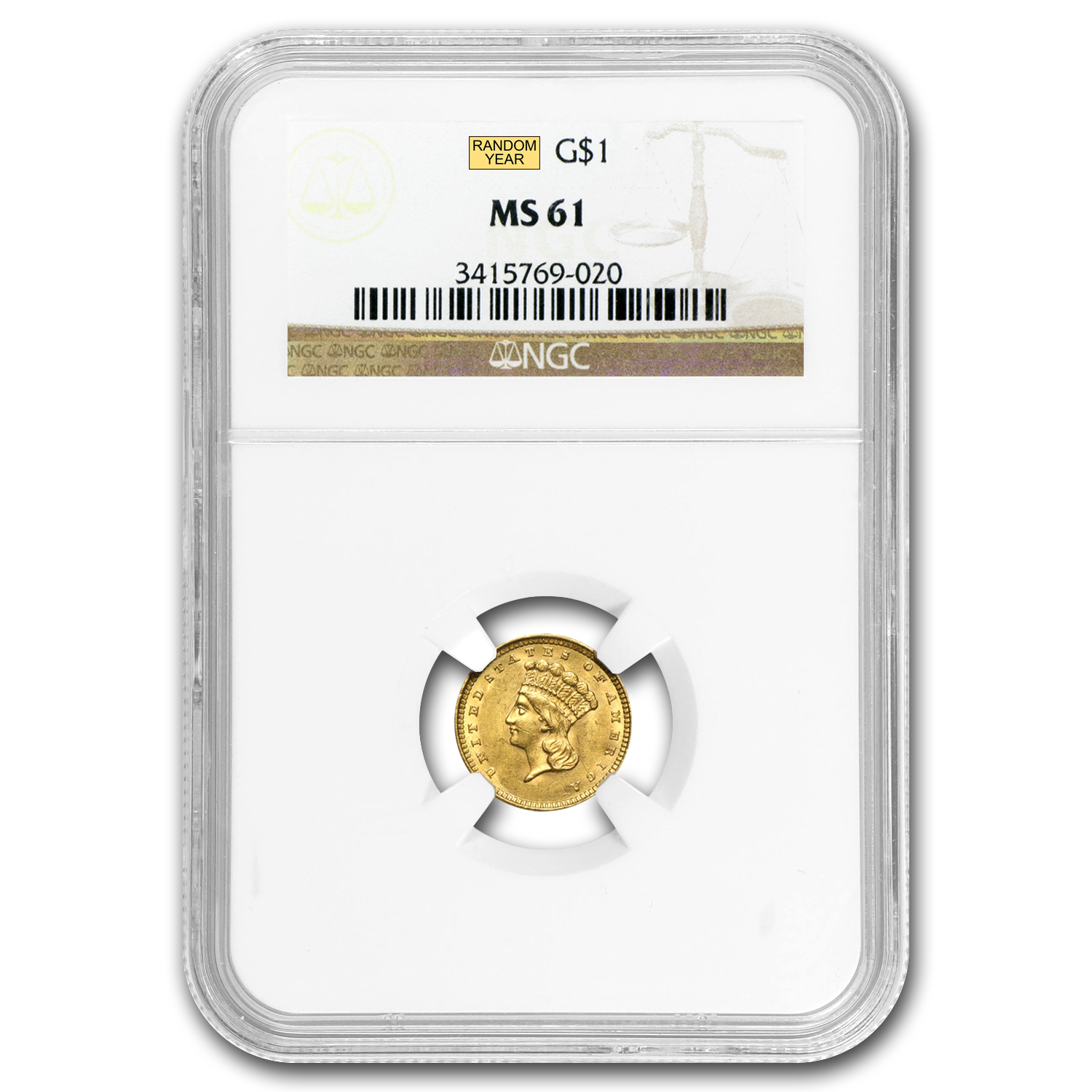 $1 Indian Head Gold Type 3 MS-61 NGC/PCGS