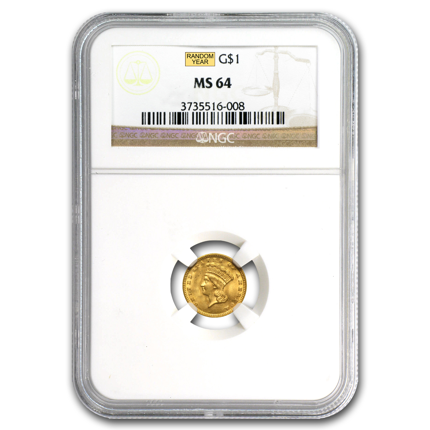 $1 Indian Head Gold - Type 3 - MS-64 NGC or PCGS