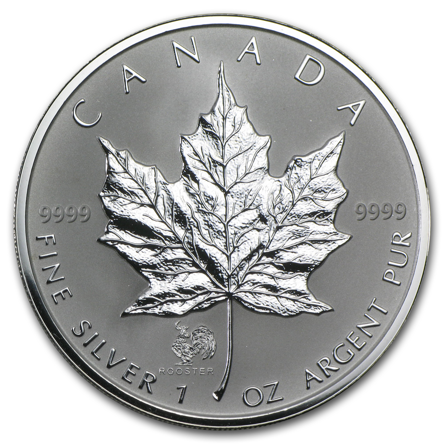 2005 1 oz Silver Canadian Maple Leaf - Lunar ROOSTER Privy