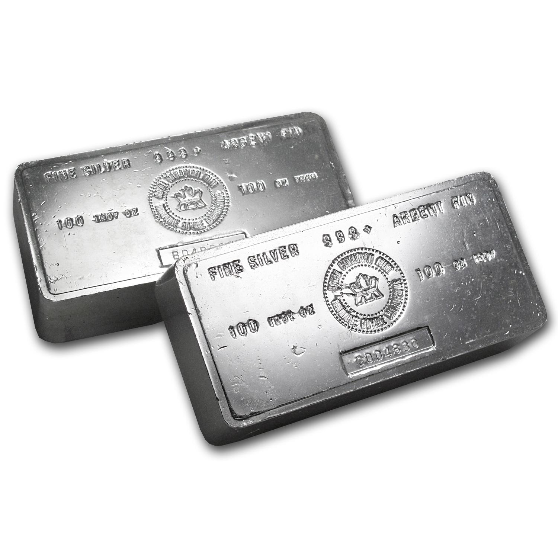 100 Oz Silver Bar Rcm Vintage 100 Oz Silver Bars