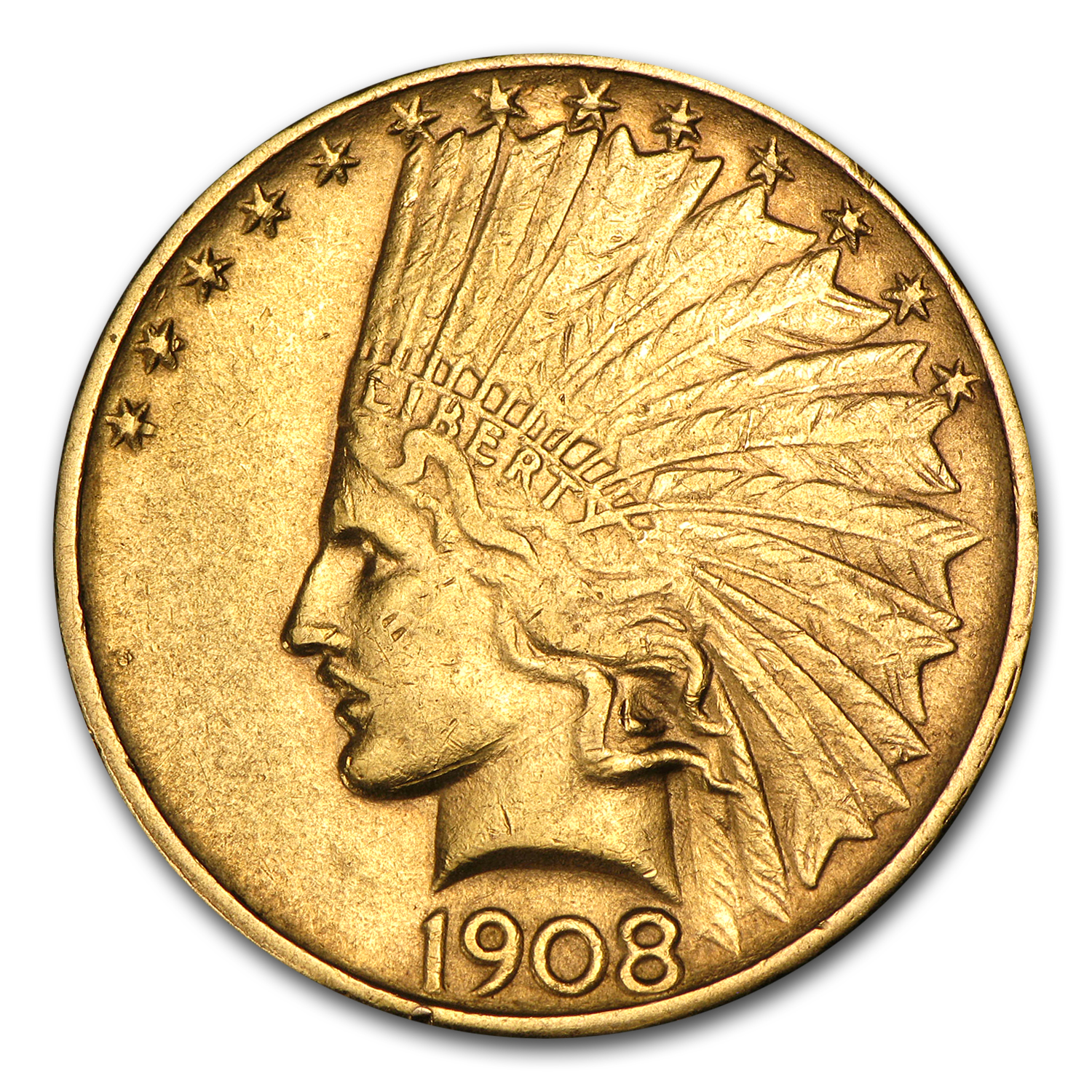 1908-D $10 Indian Gold Eagle No Motto XF