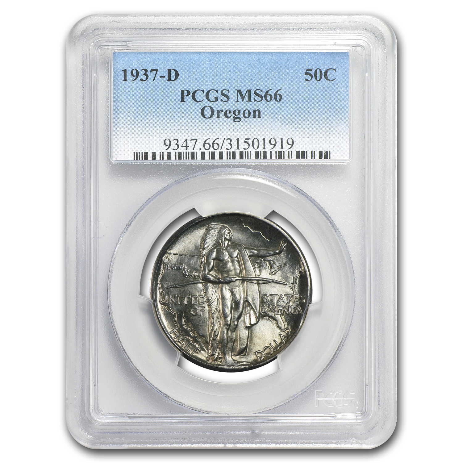 1937-D Oregon Commemorative Half Dollar MS-66 PCGS