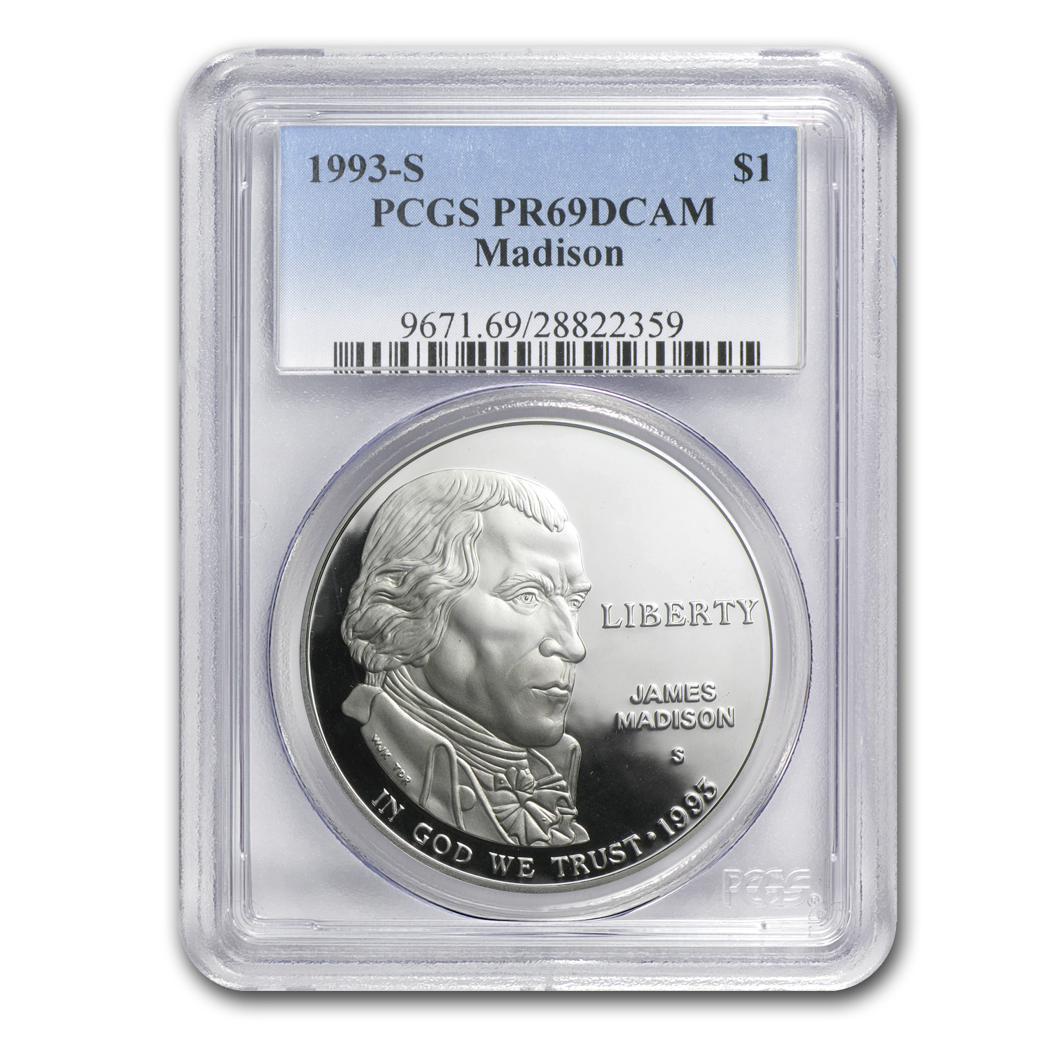 1993-S Bill of Rights-Madison $1 Silver Commem PR-69 PCGS