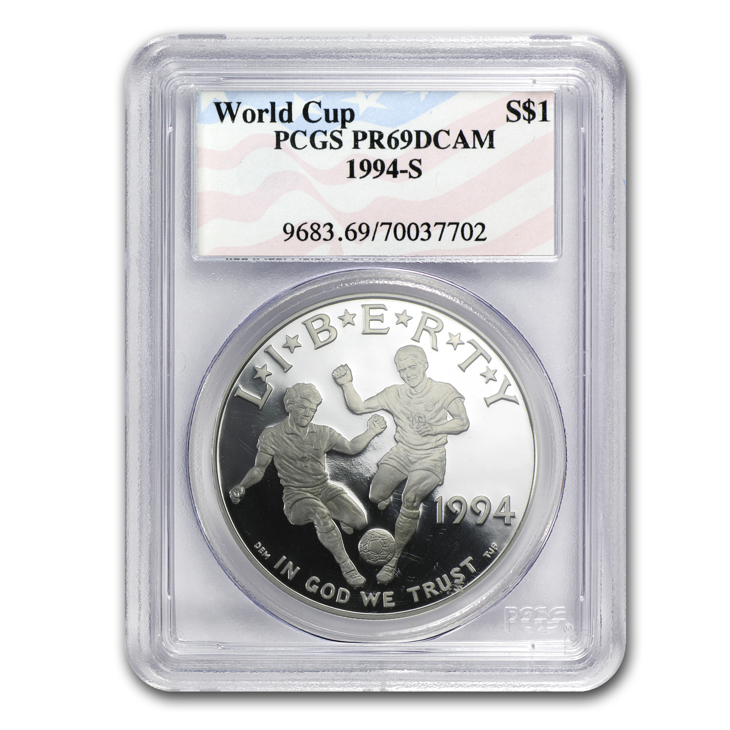 1994-S World Cup $1 Silver Commem PR-69 PCGS