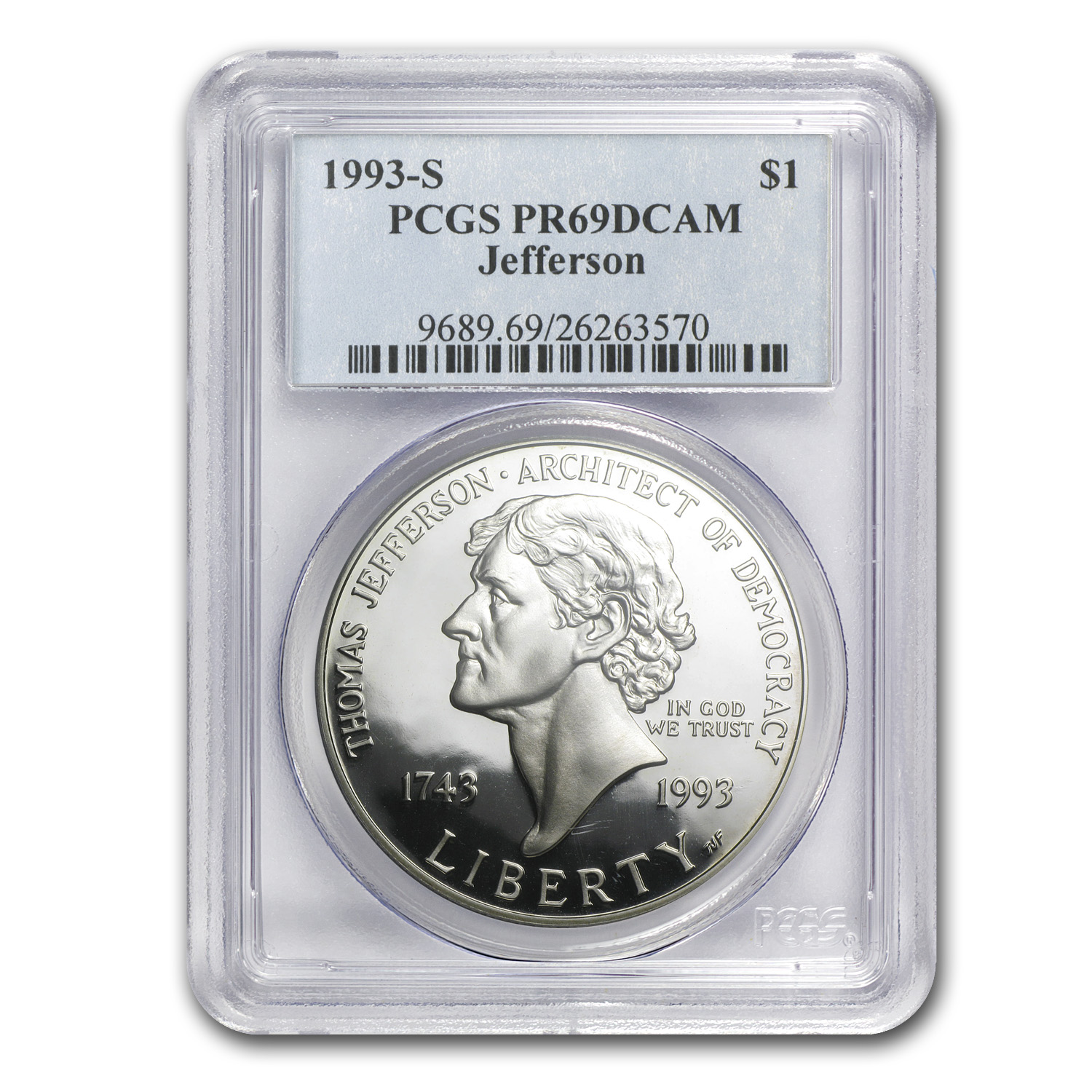 1993-S Jefferson 250th Anniv. $1 Silver Commem PR-69 DCAM PCGS