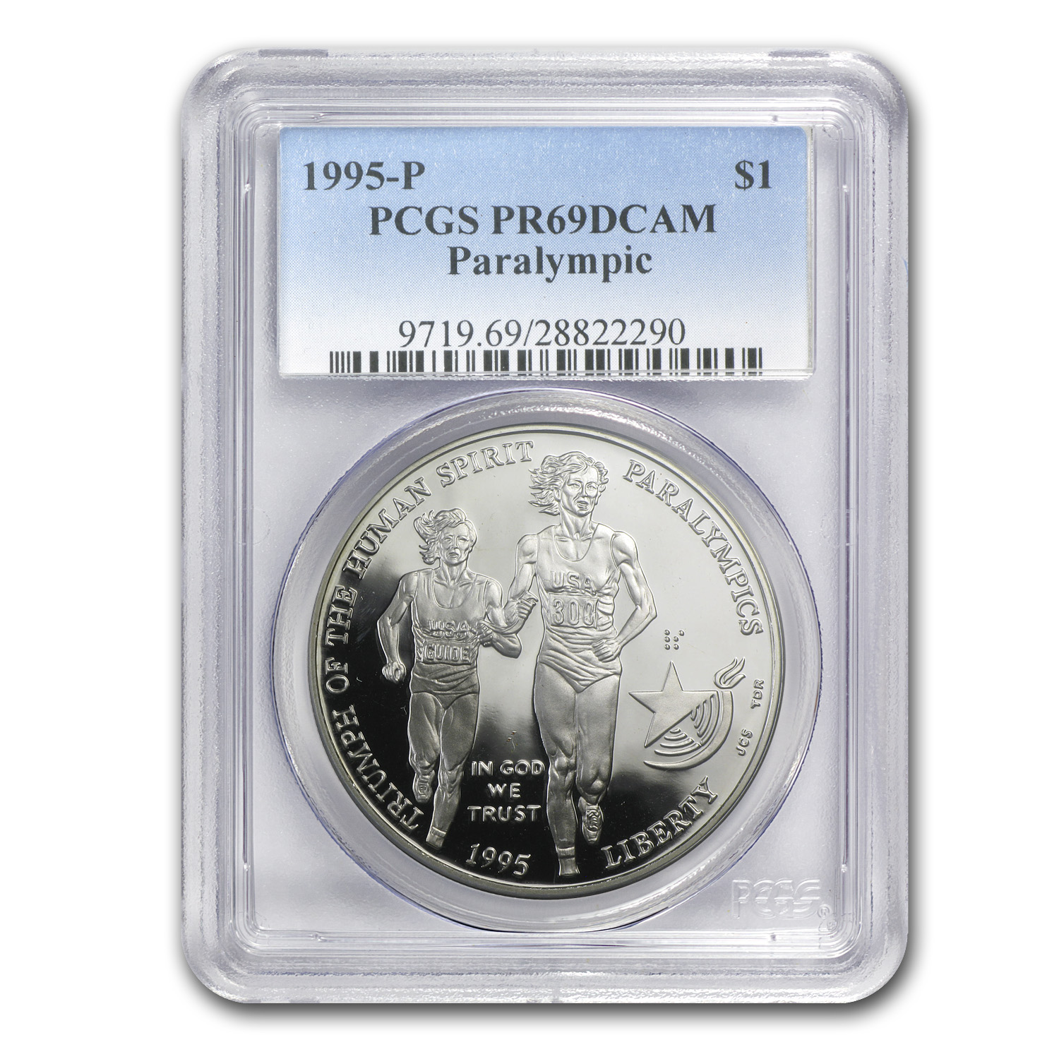 1995-P Olympic Blind Runner $1 Silver Commem PR-69 PCGS