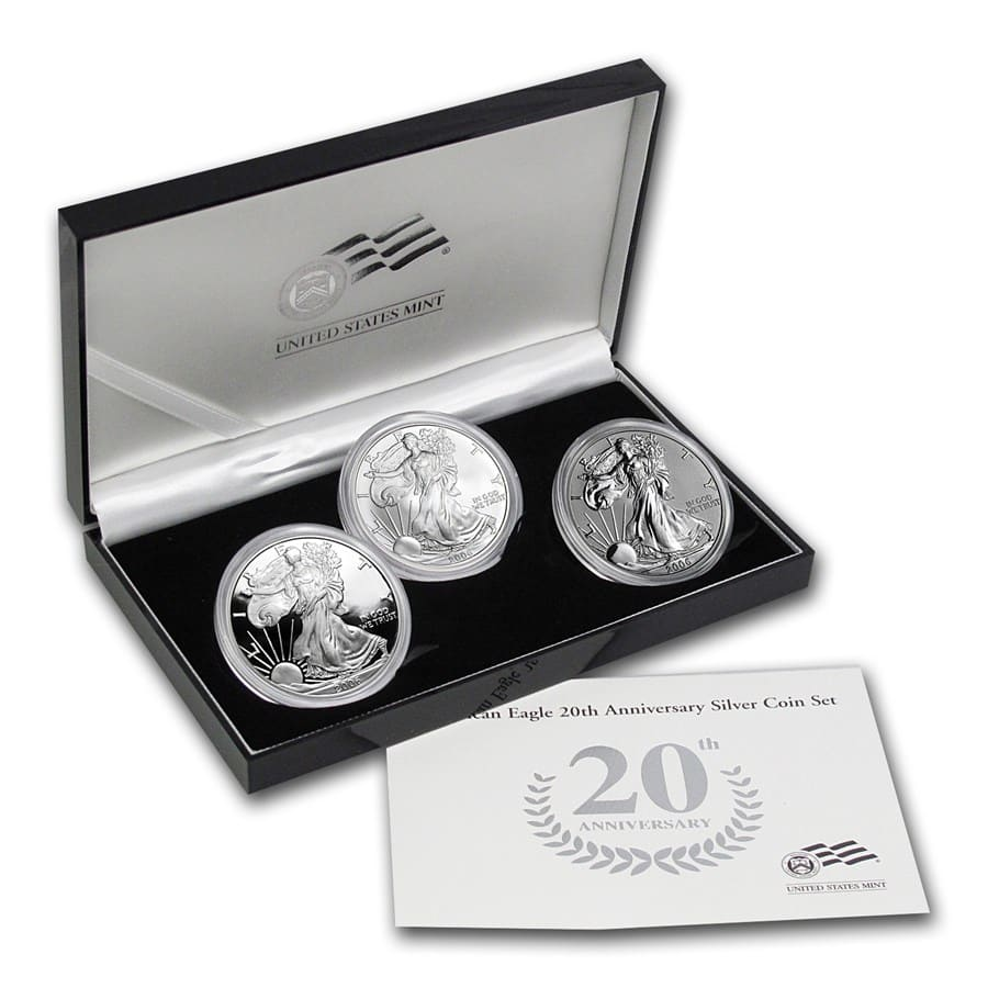 2006-W (3 Coin) Silver Eagle Set w/Box & CoA 20th Anniversary