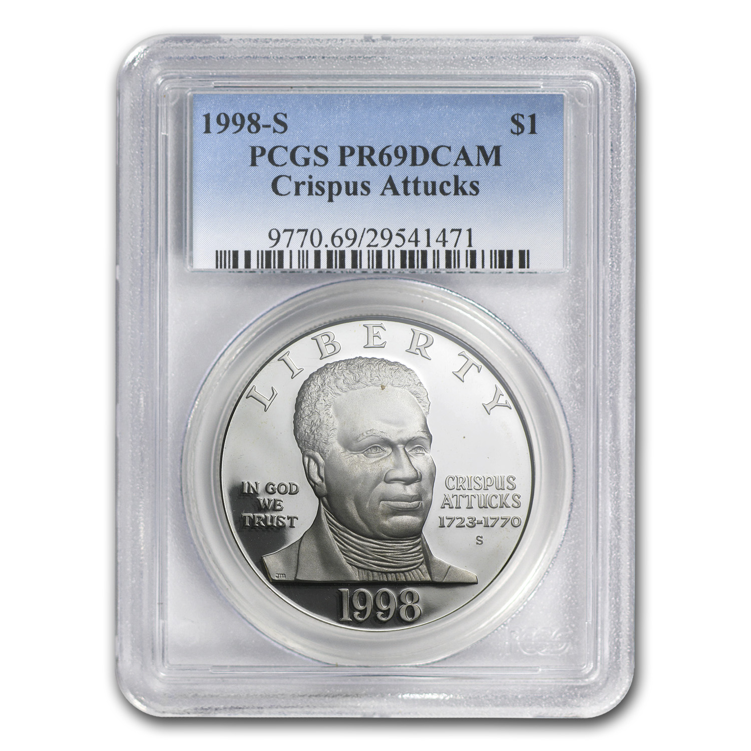 1998-S Black Revolutionary Patriots $1 Silver Commem PR-69 PCGS