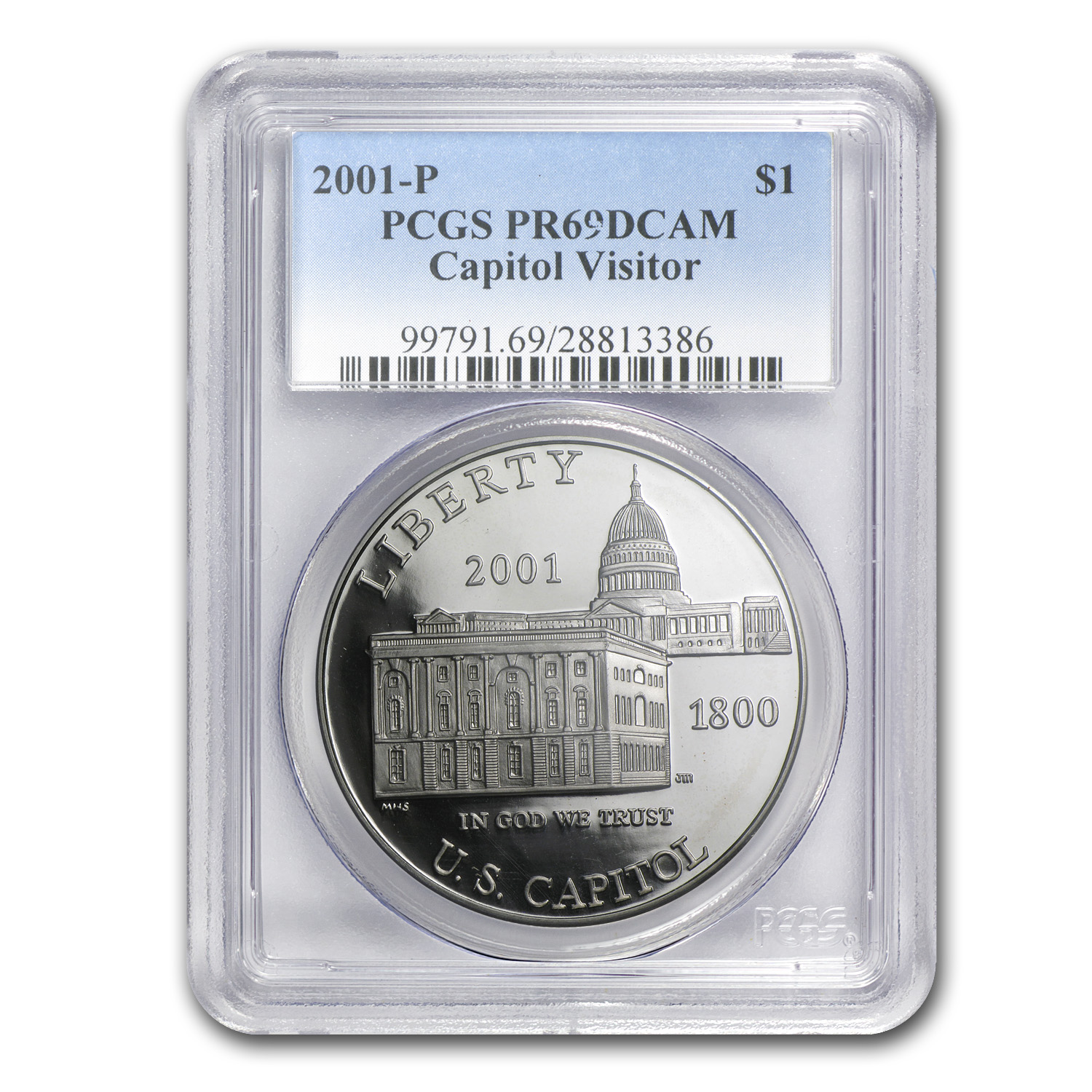 2001-P Capitol Visitor Center $1 Silver Commem PR-69 PCGS