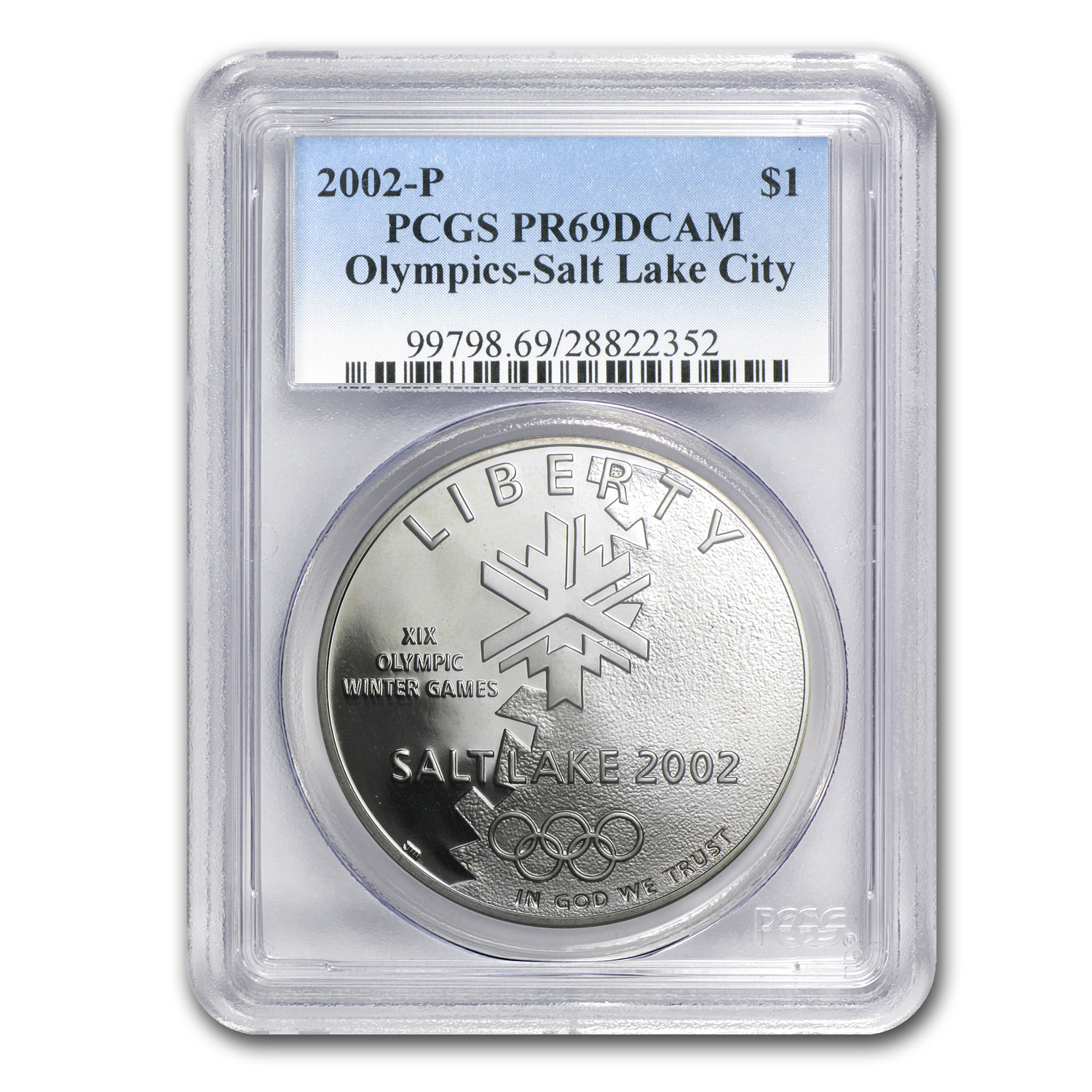2002-P Olympic Winter Games $1 Silver Commem PR-69 DCAM PCGS