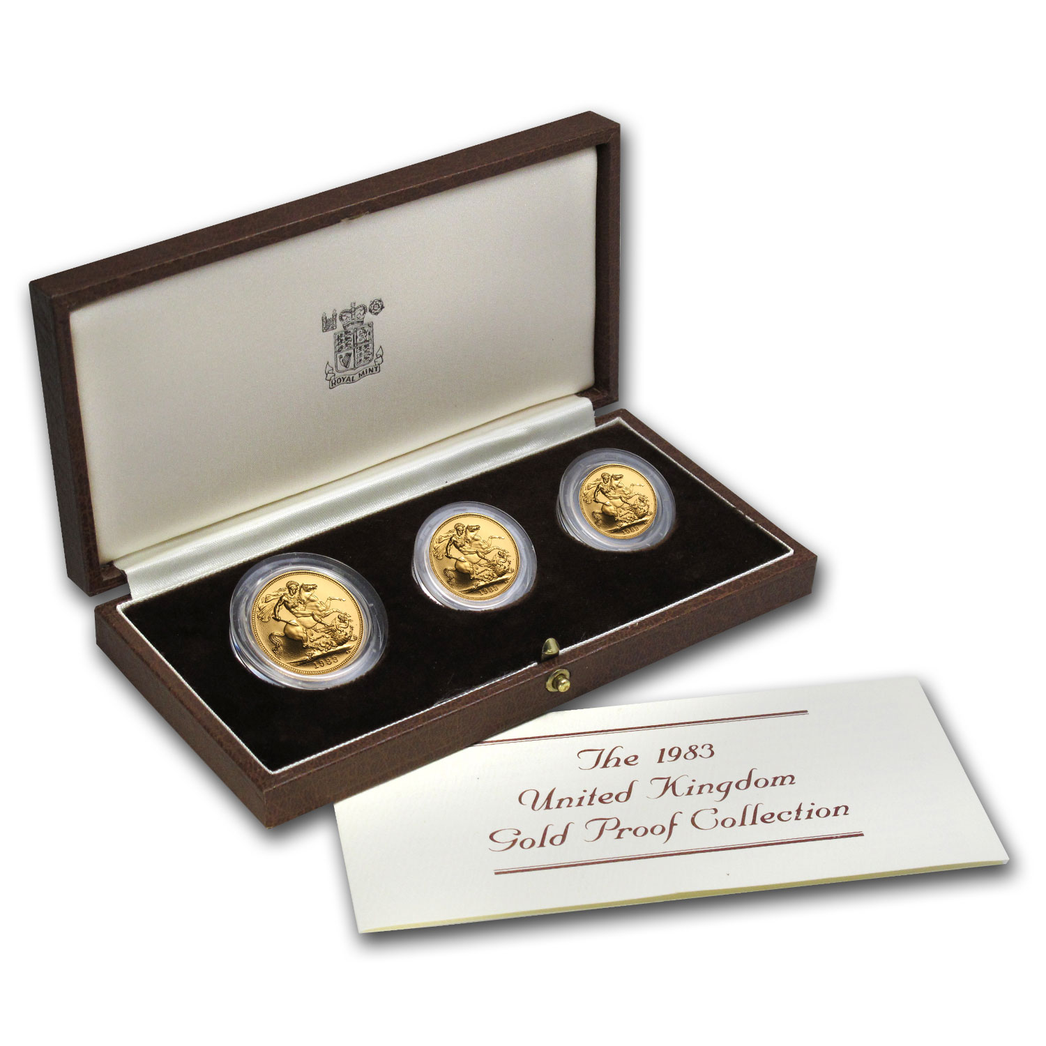Great Britain 1983 3 Coin Gold Sovereign Proof Set AGW .8239