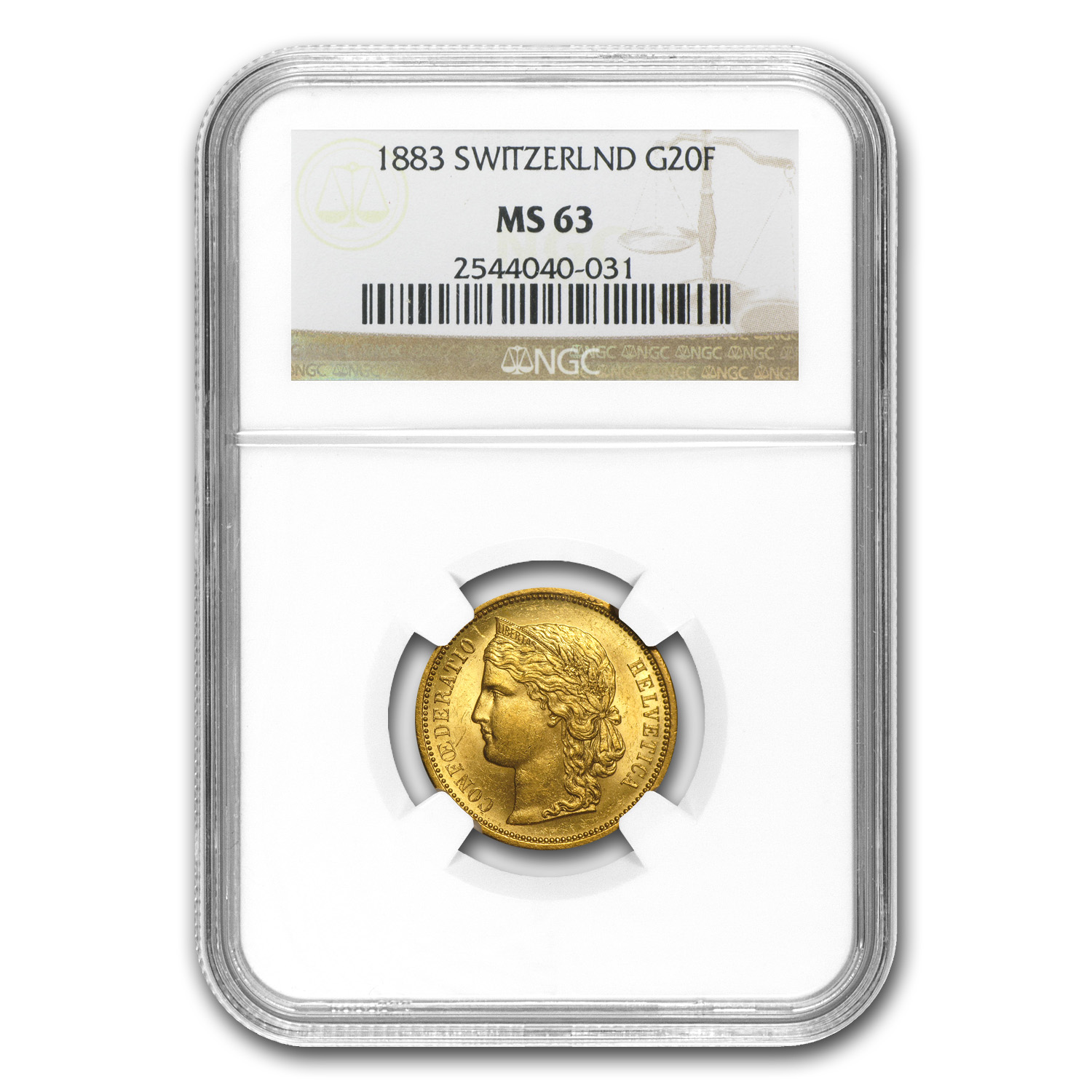 Switzerland (Helvetica) 1883 Gold 20 Francs - MS-63 NGC