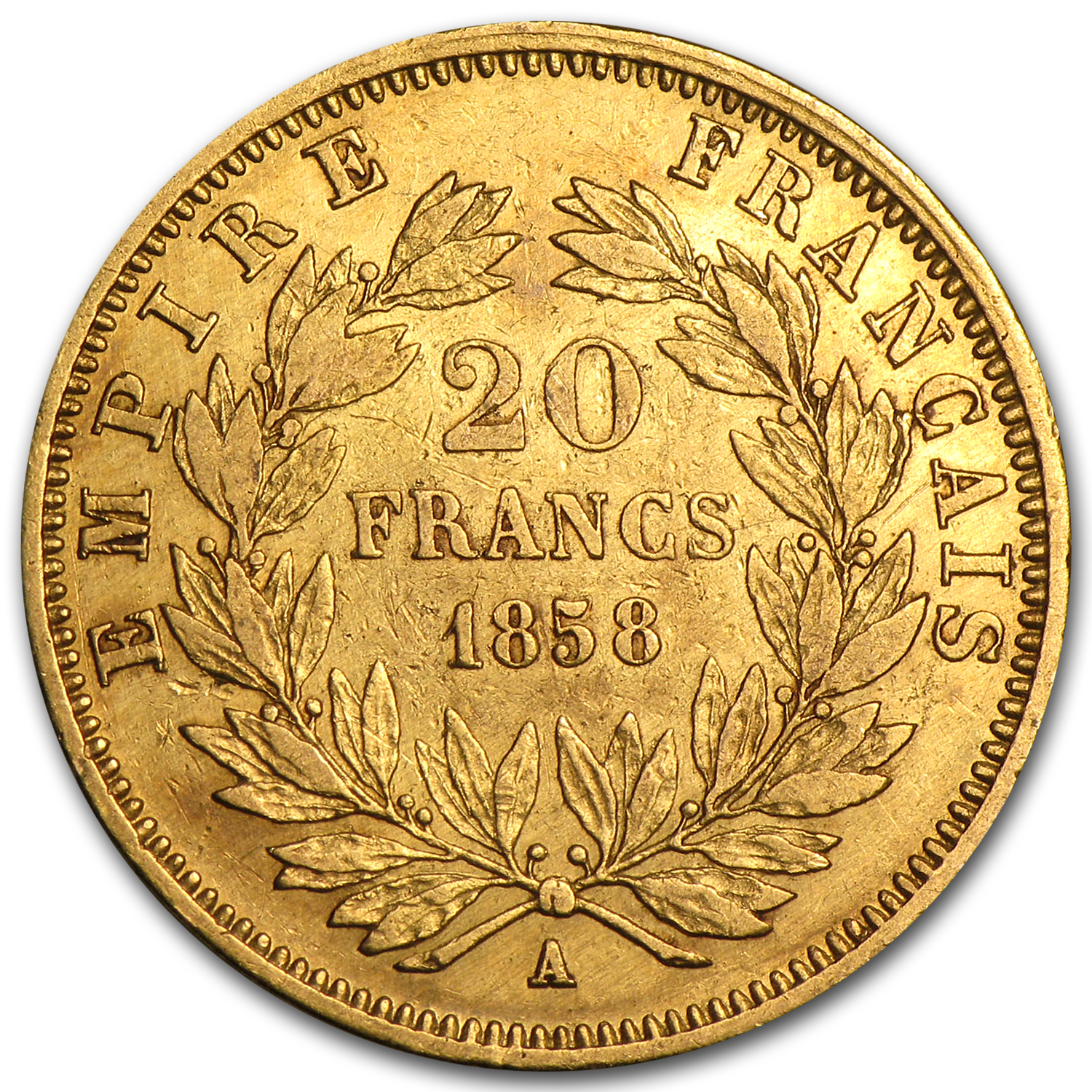 1852-1870 France Gold 20 Francs Napoleon III XF